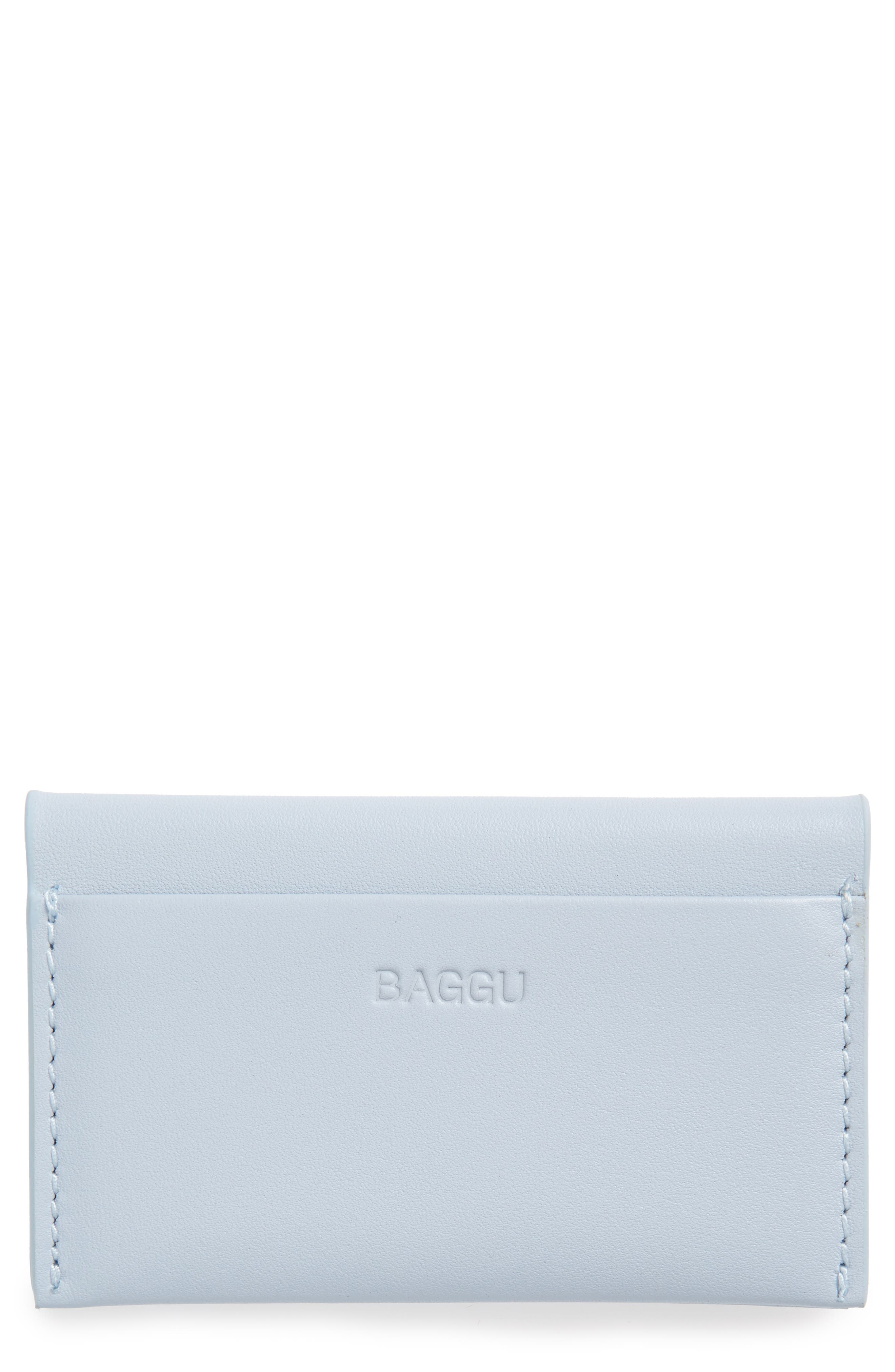 Leather Card Case,                         Main,                         color, Powder Blue