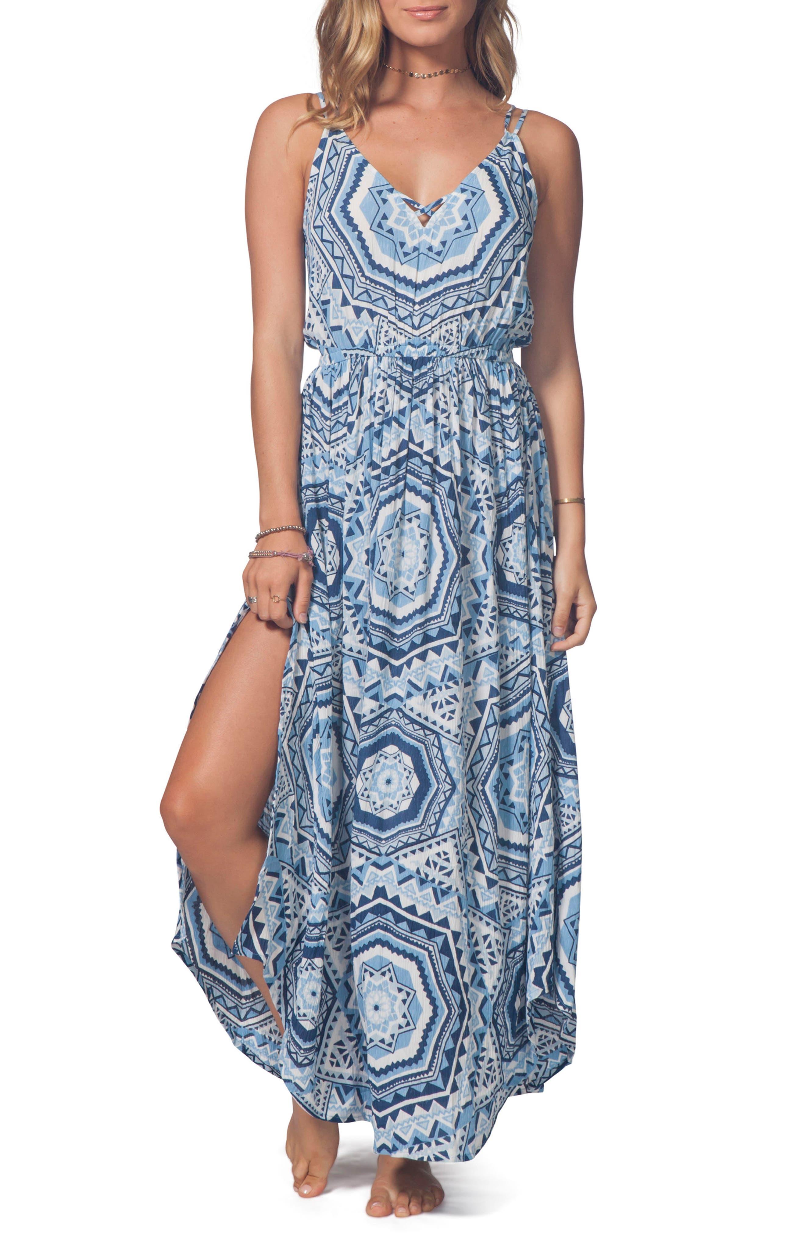 La Playa Maxi Dress,                         Main,                         color, Mid Blue