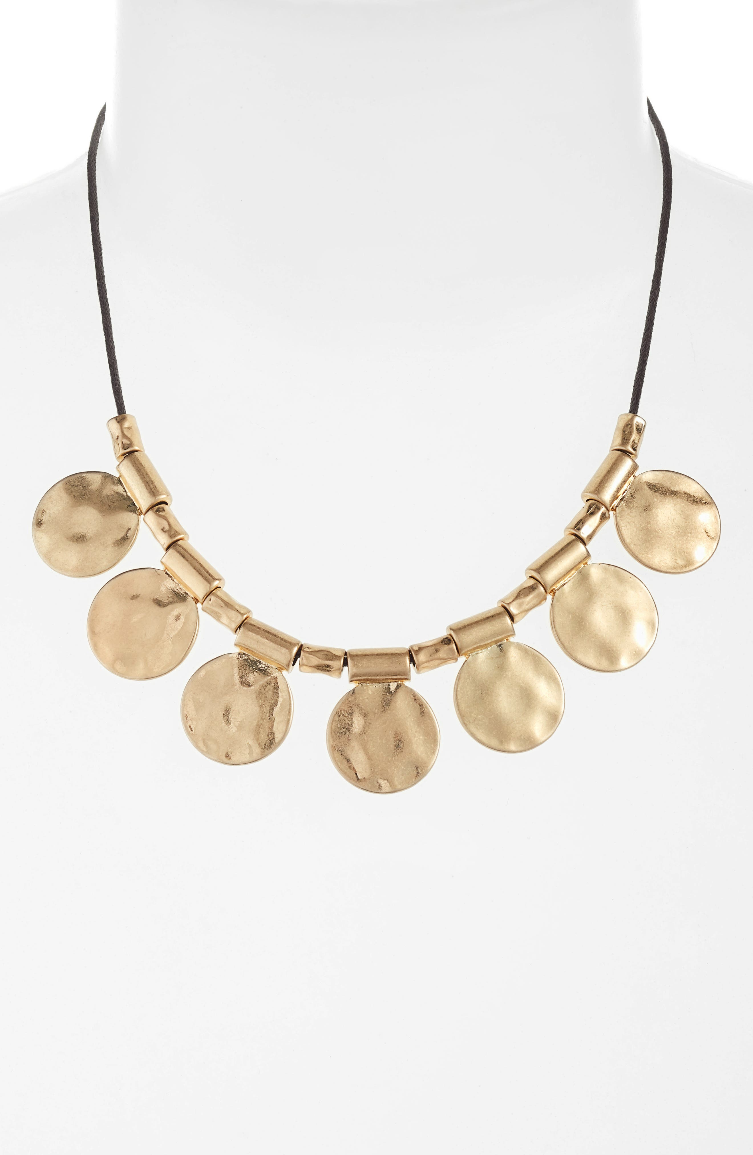 Organic Summer Metals Sliding Disc Necklace,                             Main thumbnail 1, color,                             Brown- Gold