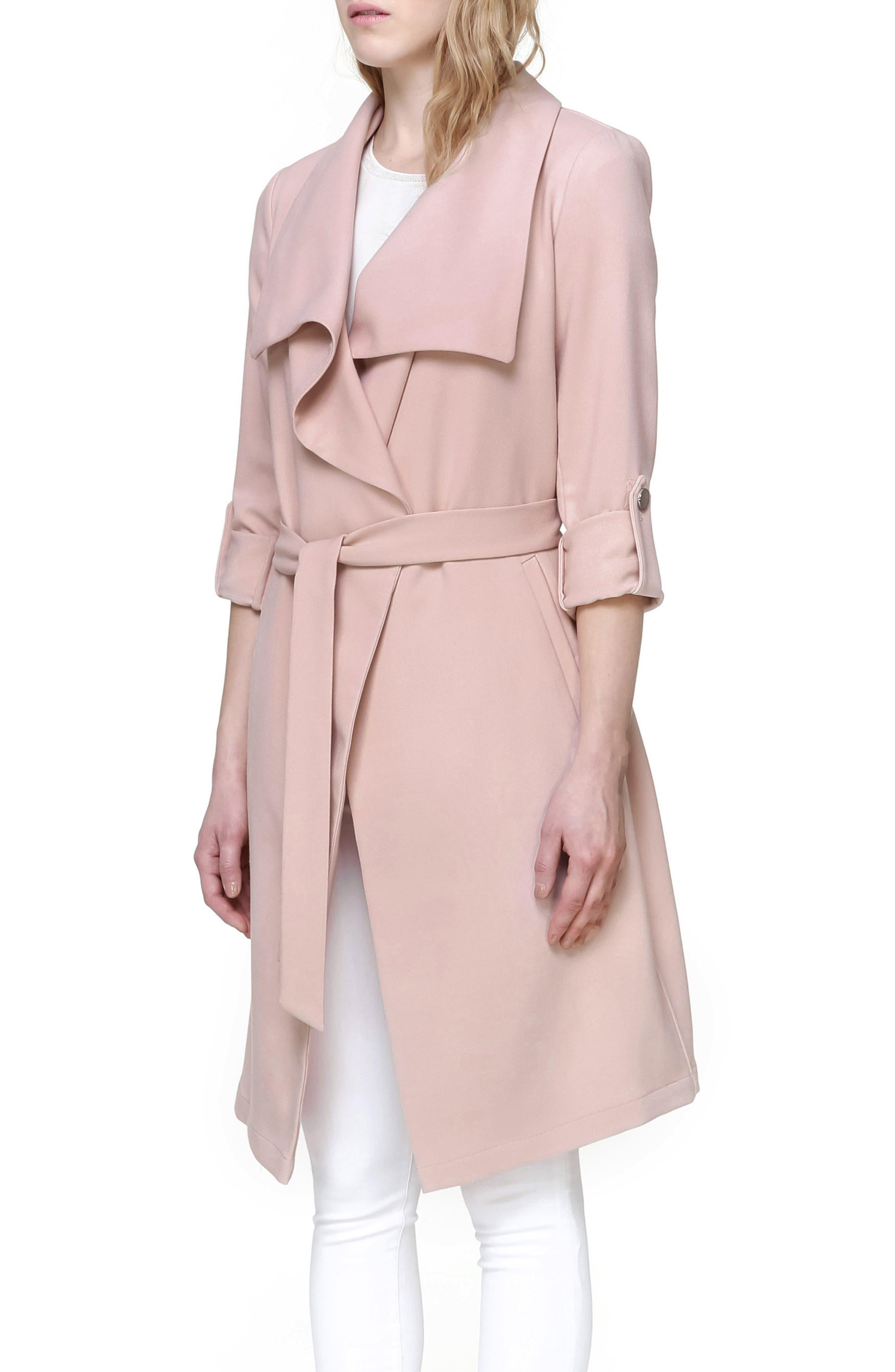 Roll Sleeve Drape Front Long Trench Coat,                             Alternate thumbnail 3, color,                             Blush