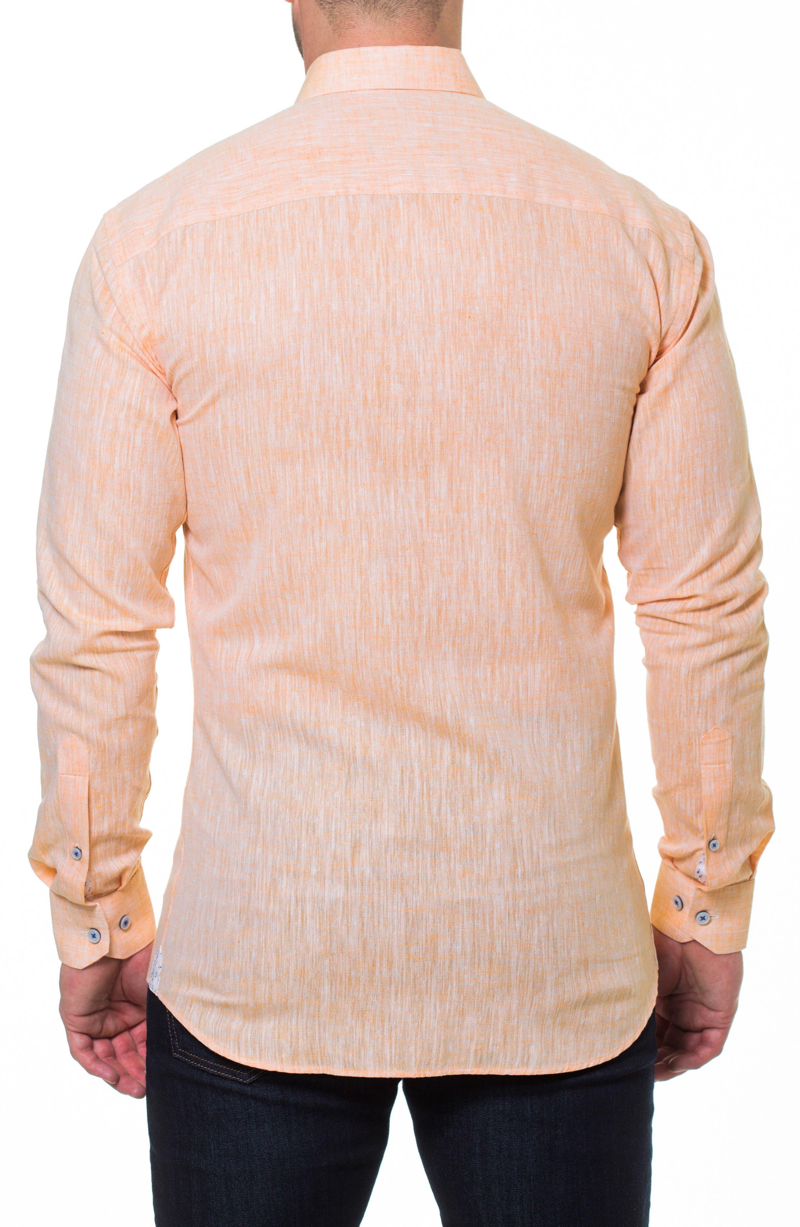 Luxor Lino Slim Fit Sport Shirt,                             Alternate thumbnail 2, color,                             Orange