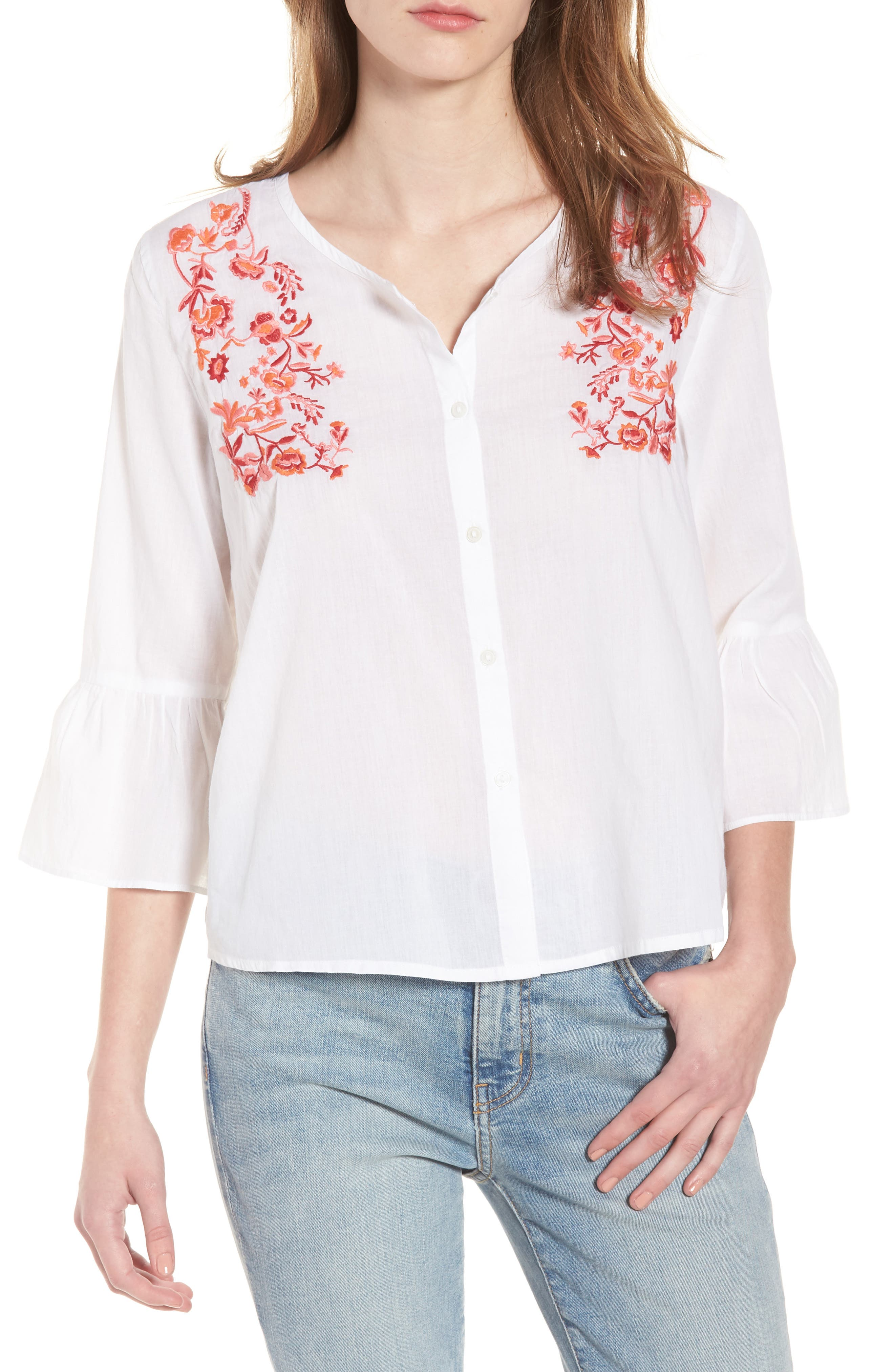 Embroidered Trumpet Sleeve Blouse,                         Main,                         color, White