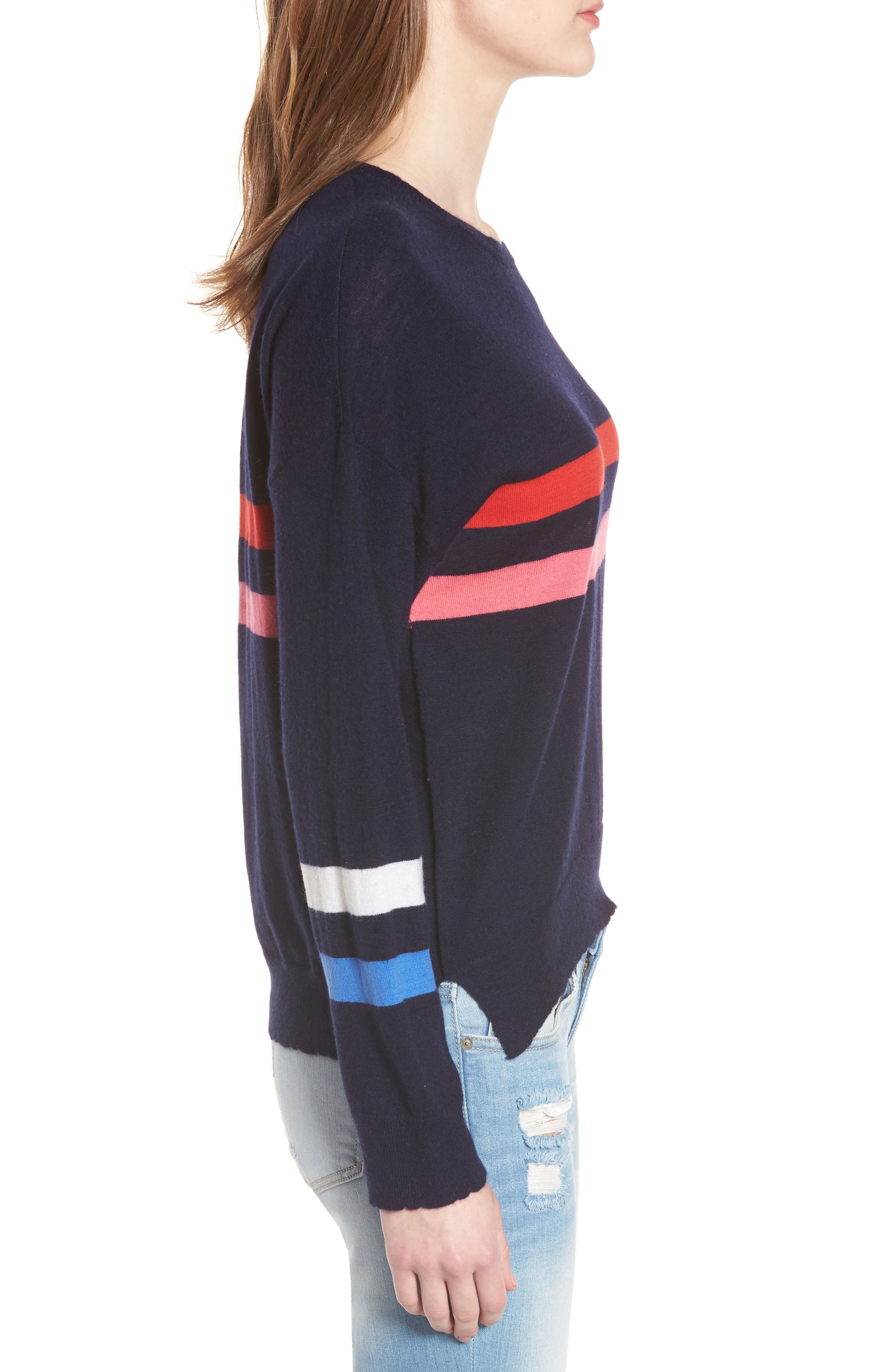 Stripe Wool & Cashmere Sweater,                             Alternate thumbnail 3, color,                             Navy