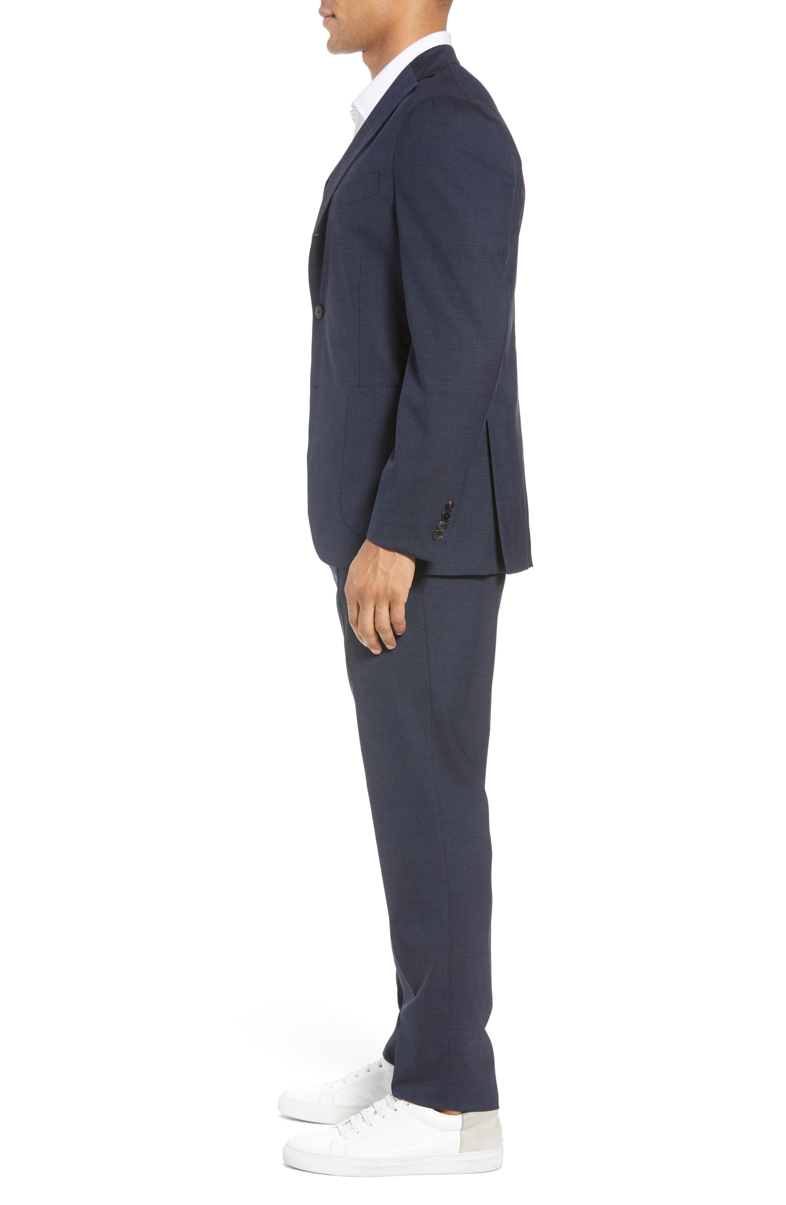 Trim Fit Stretch Solid Wool Suit,                             Alternate thumbnail 3, color,                             Navy