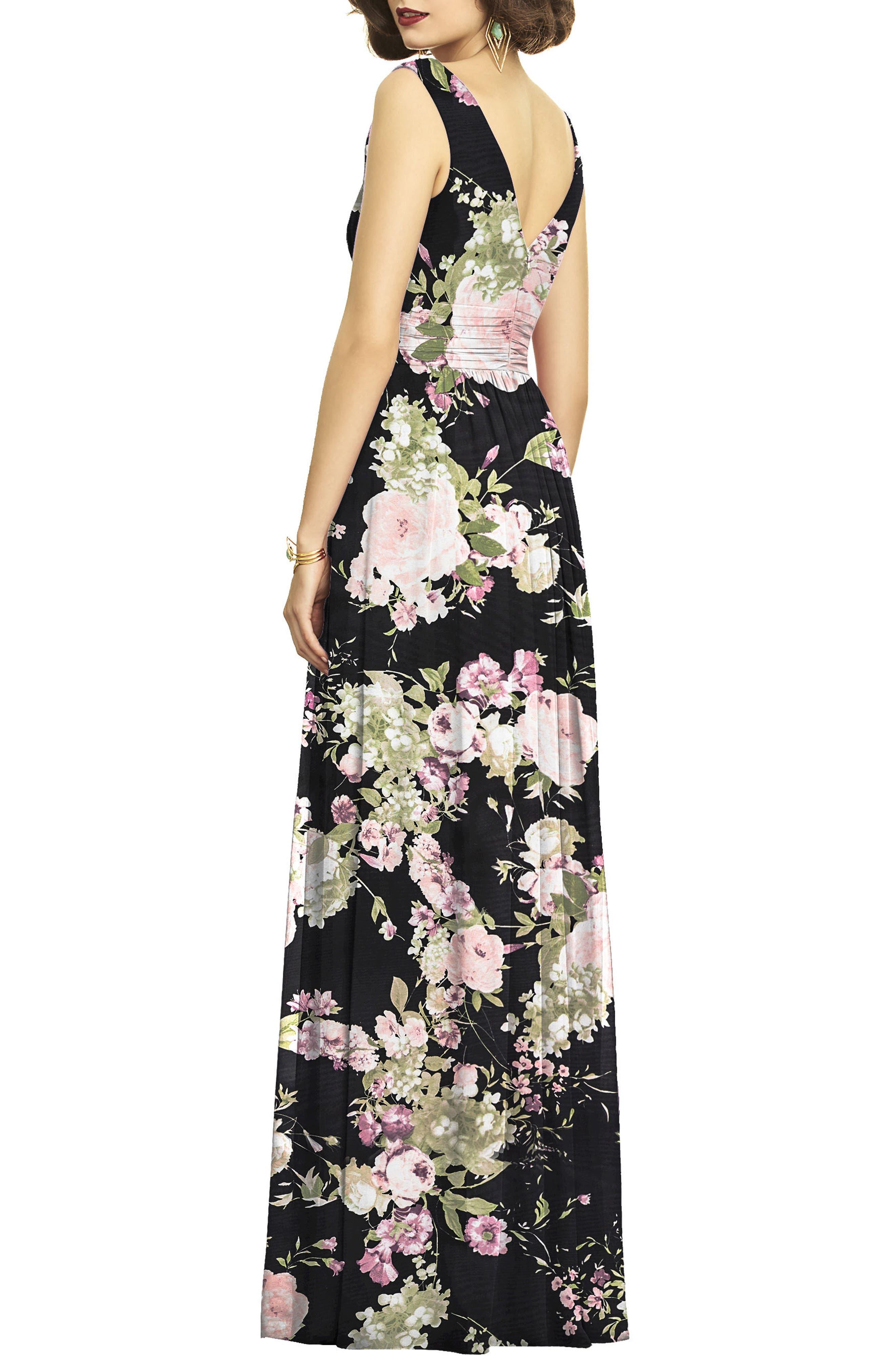 Surplice Ruched Chiffon Gown,                             Alternate thumbnail 2, color,                             Noir Garden Print