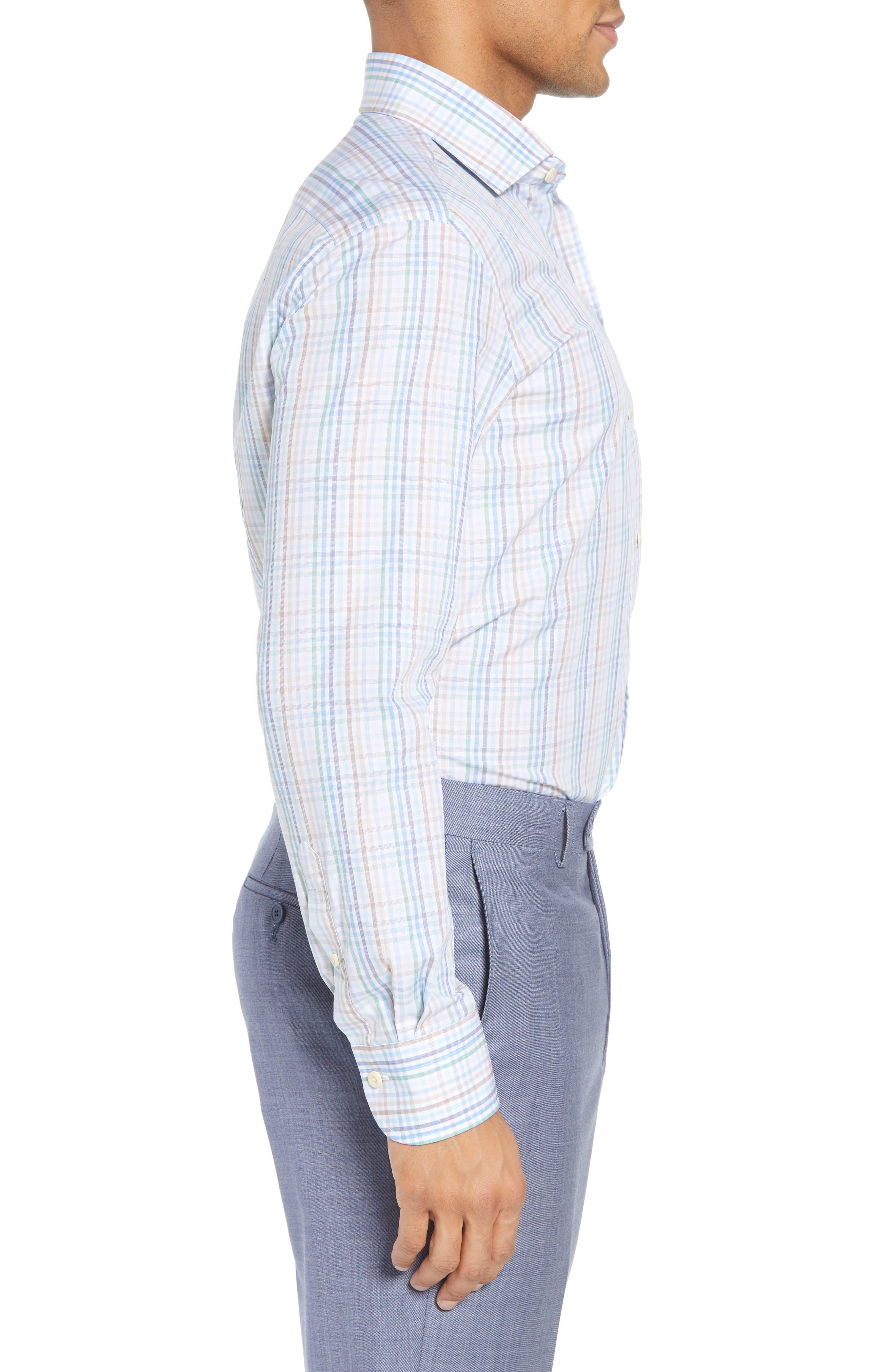 Albright Slim Fit Check Dress Shirt,                             Alternate thumbnail 4, color,                             Hunter
