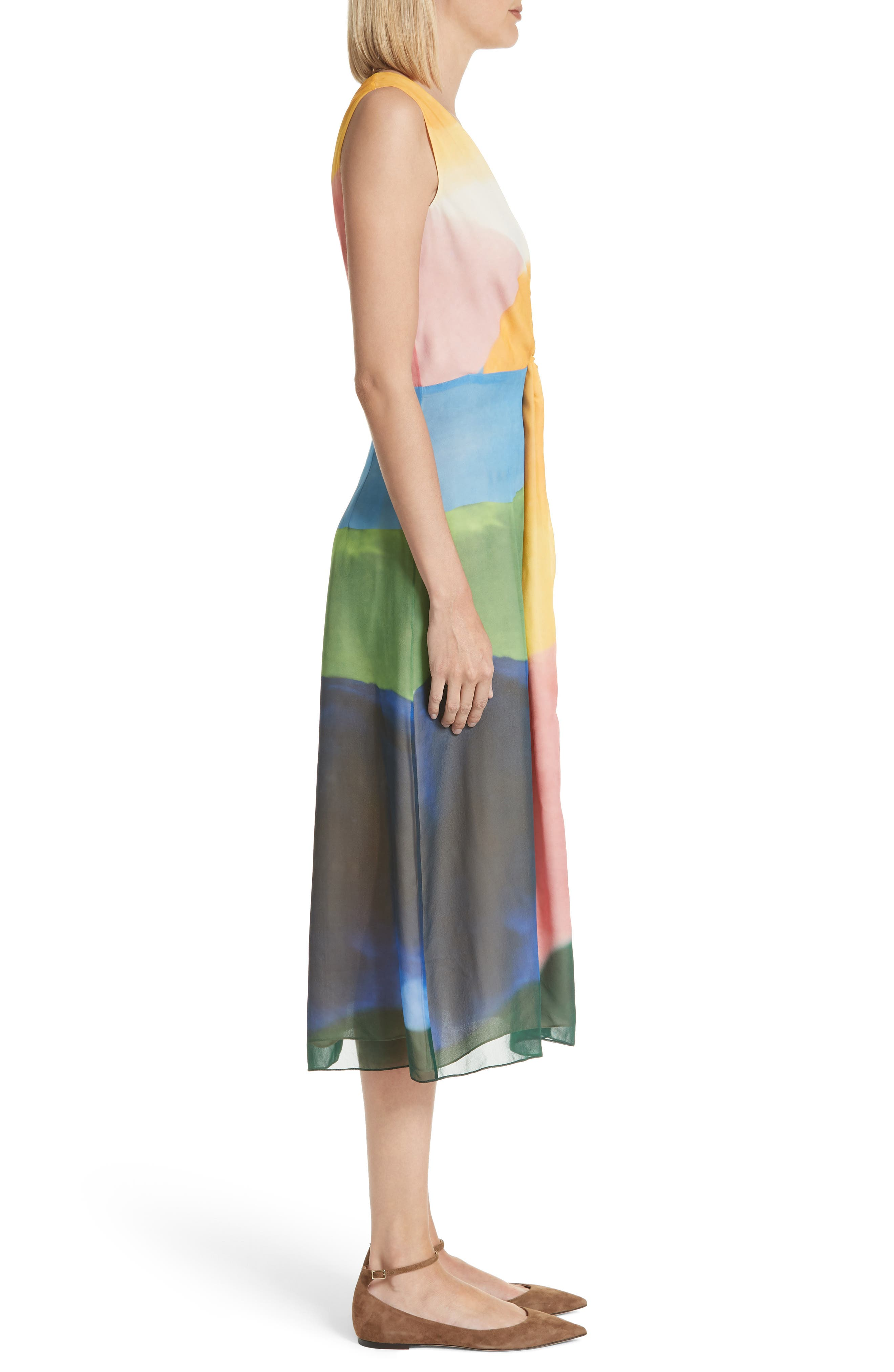 Watercolor Twisted Silk Midi Dress,                             Alternate thumbnail 3, color,                             Multi