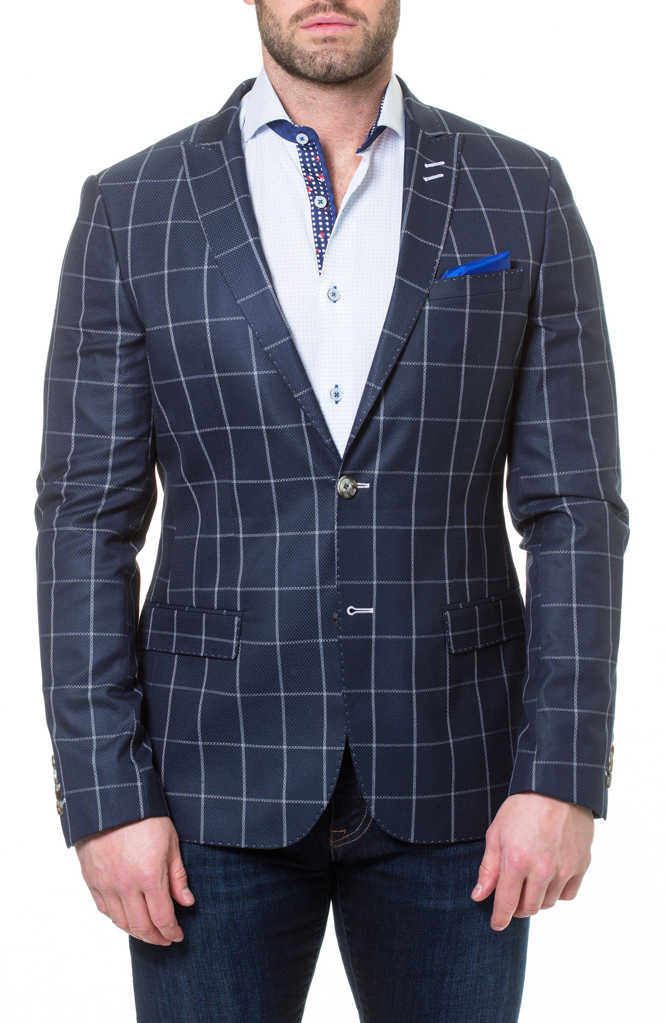 Descartes Check Linen & Cotton Blend Sport Coat,                         Main,                         color, Blue