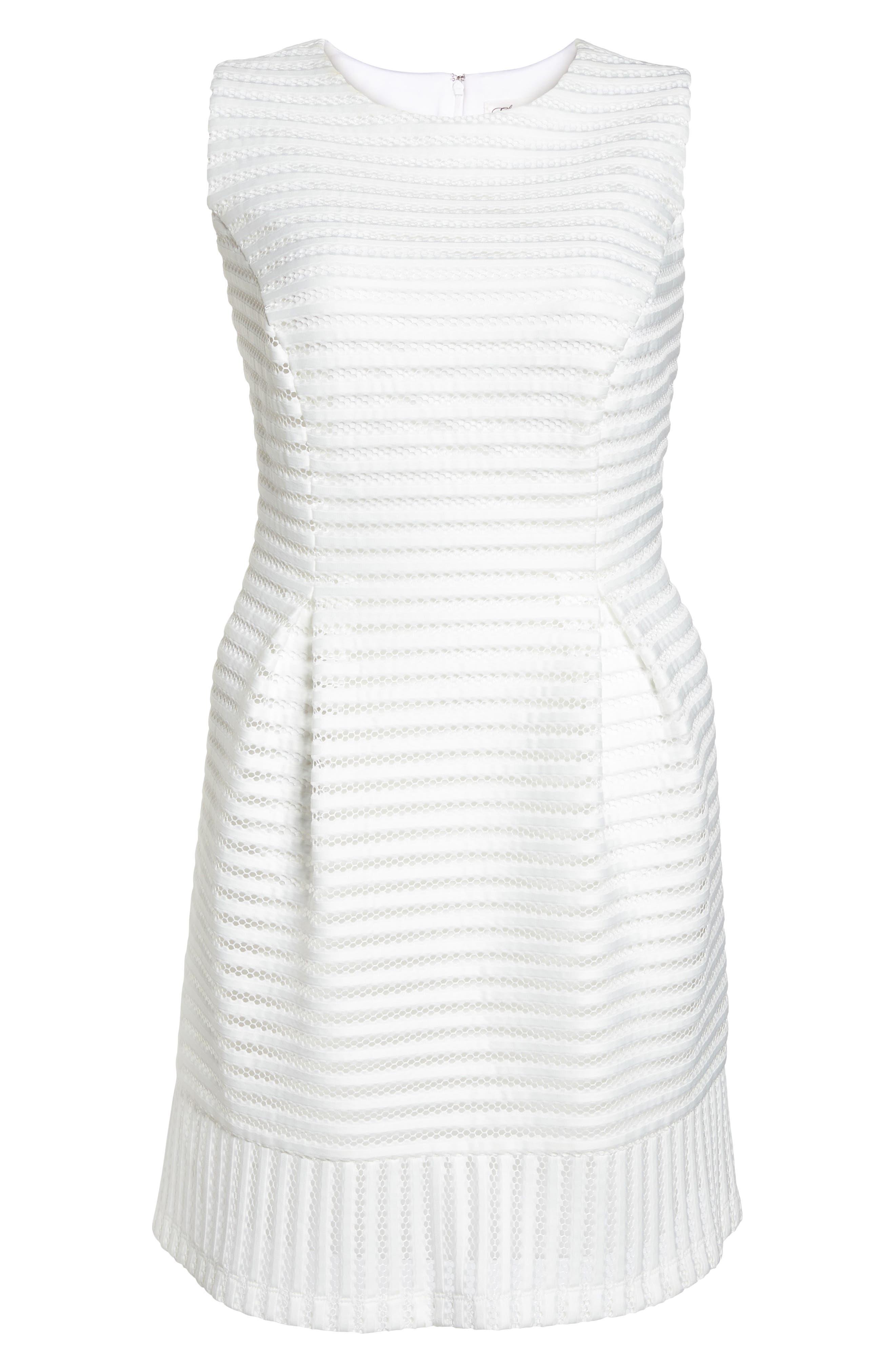Mesh Stripe Pleated A-Line Dress,                             Alternate thumbnail 7, color,                             Ivory