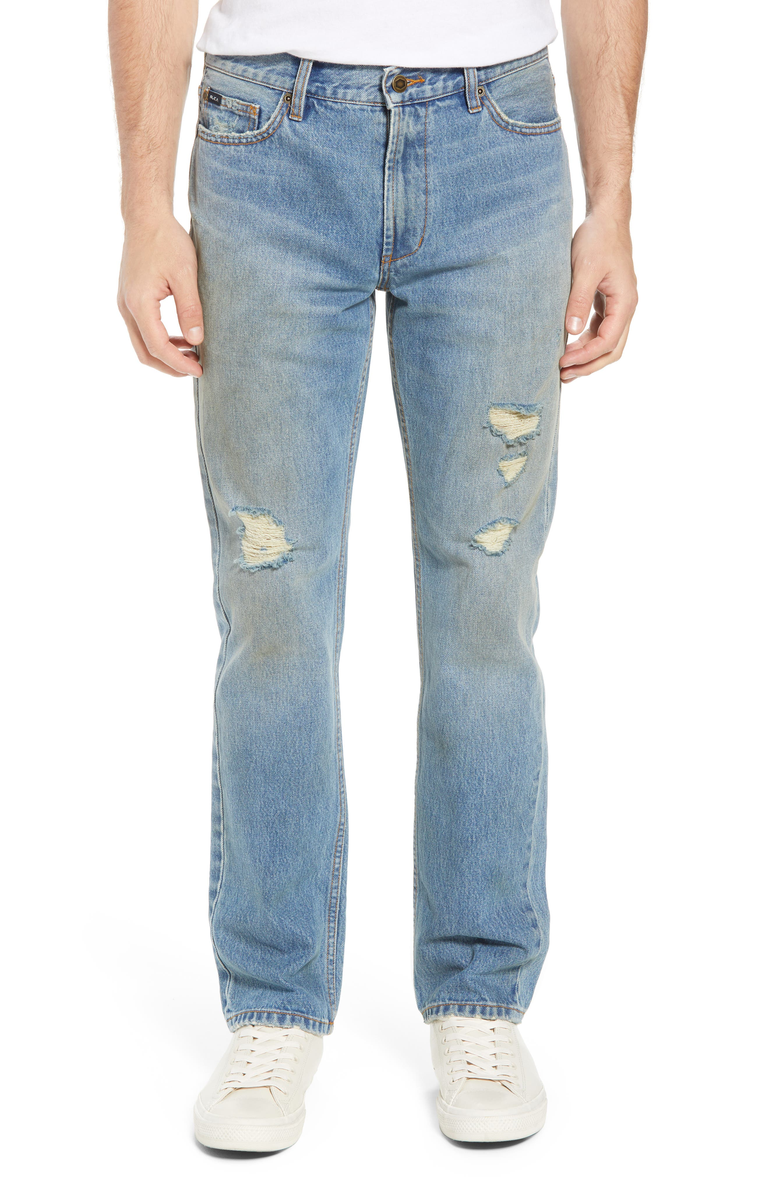 Stay RVCA Slim Fit Jeans,                             Main thumbnail 1, color,                             Blue