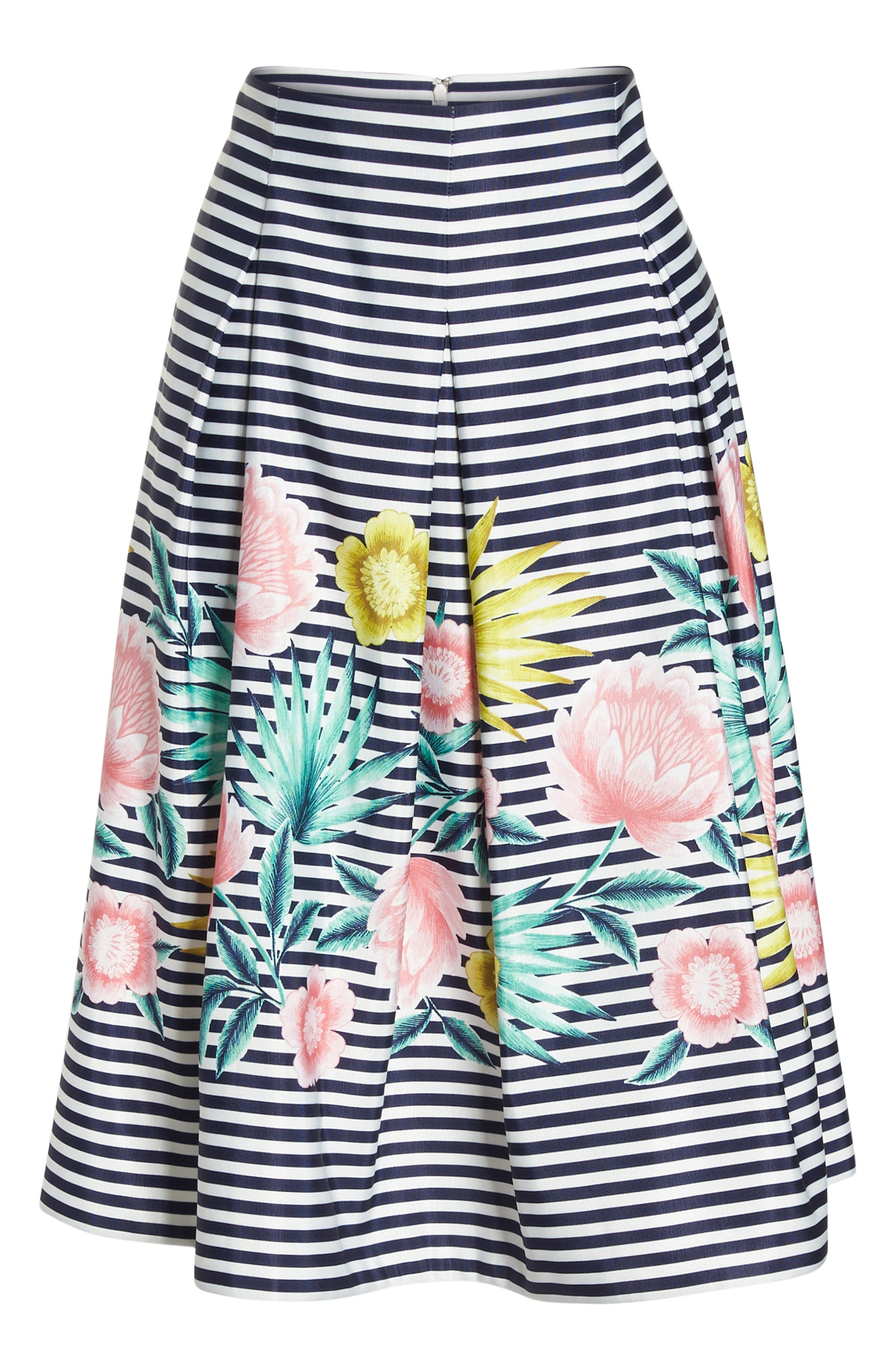 Floral & Stripe A-Line Skirt,                             Alternate thumbnail 7, color,                             Navy