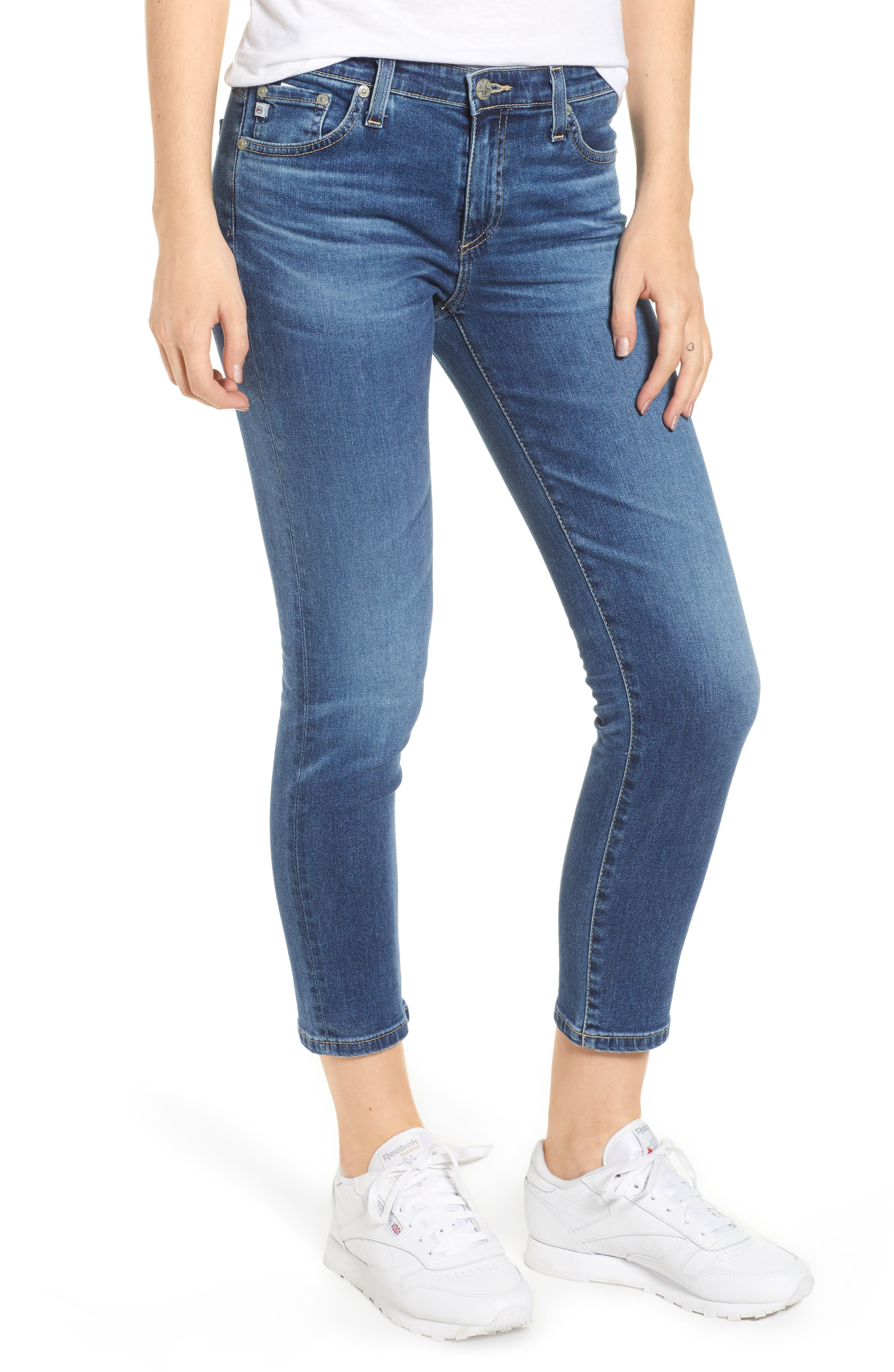 Prima Distressed Crop Cigarette Jeans,                             Main thumbnail 1, color,                             10 Years Cambria