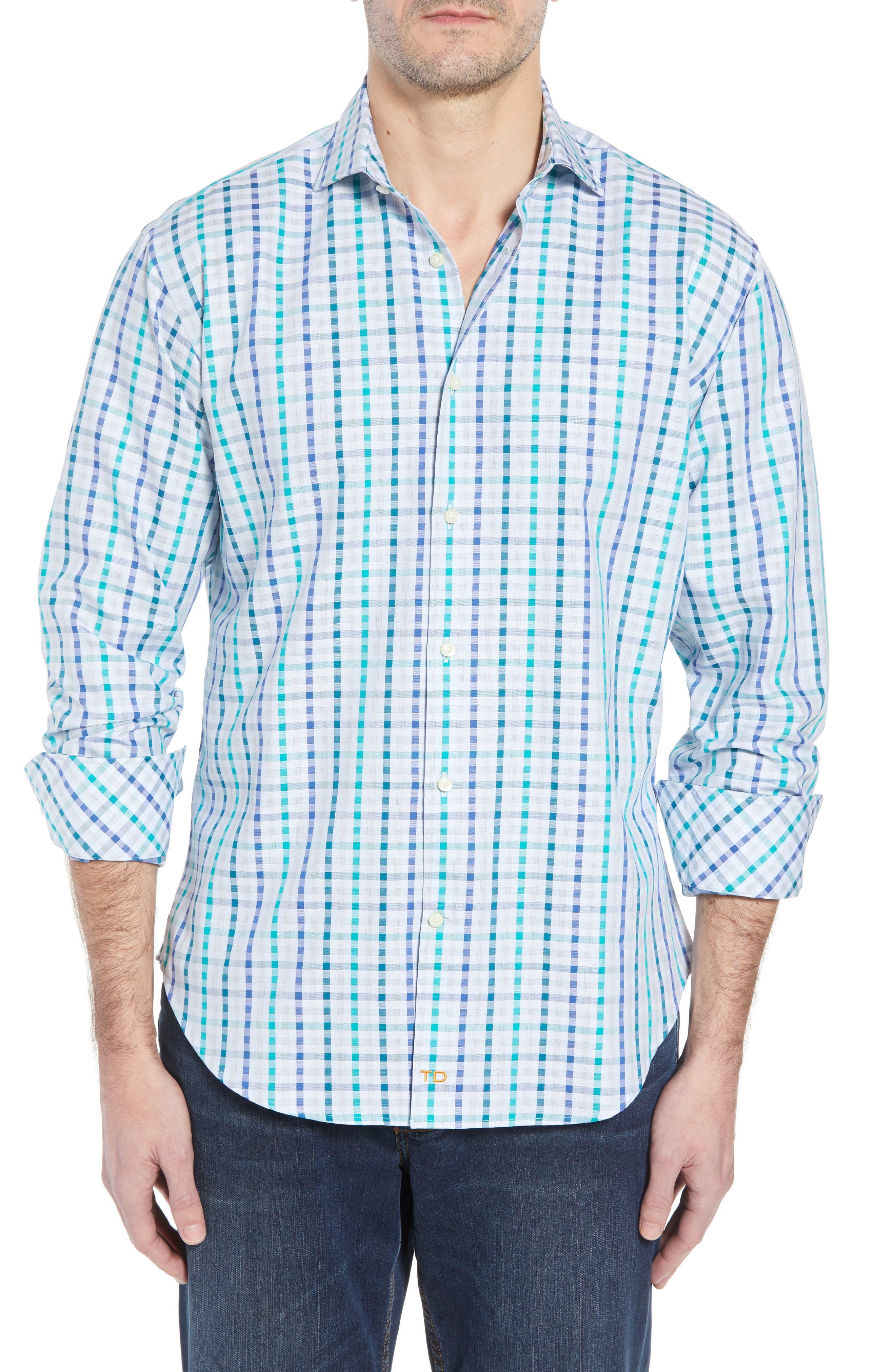 Regular Fit Check Sport Shirt,                         Main,                         color, Green