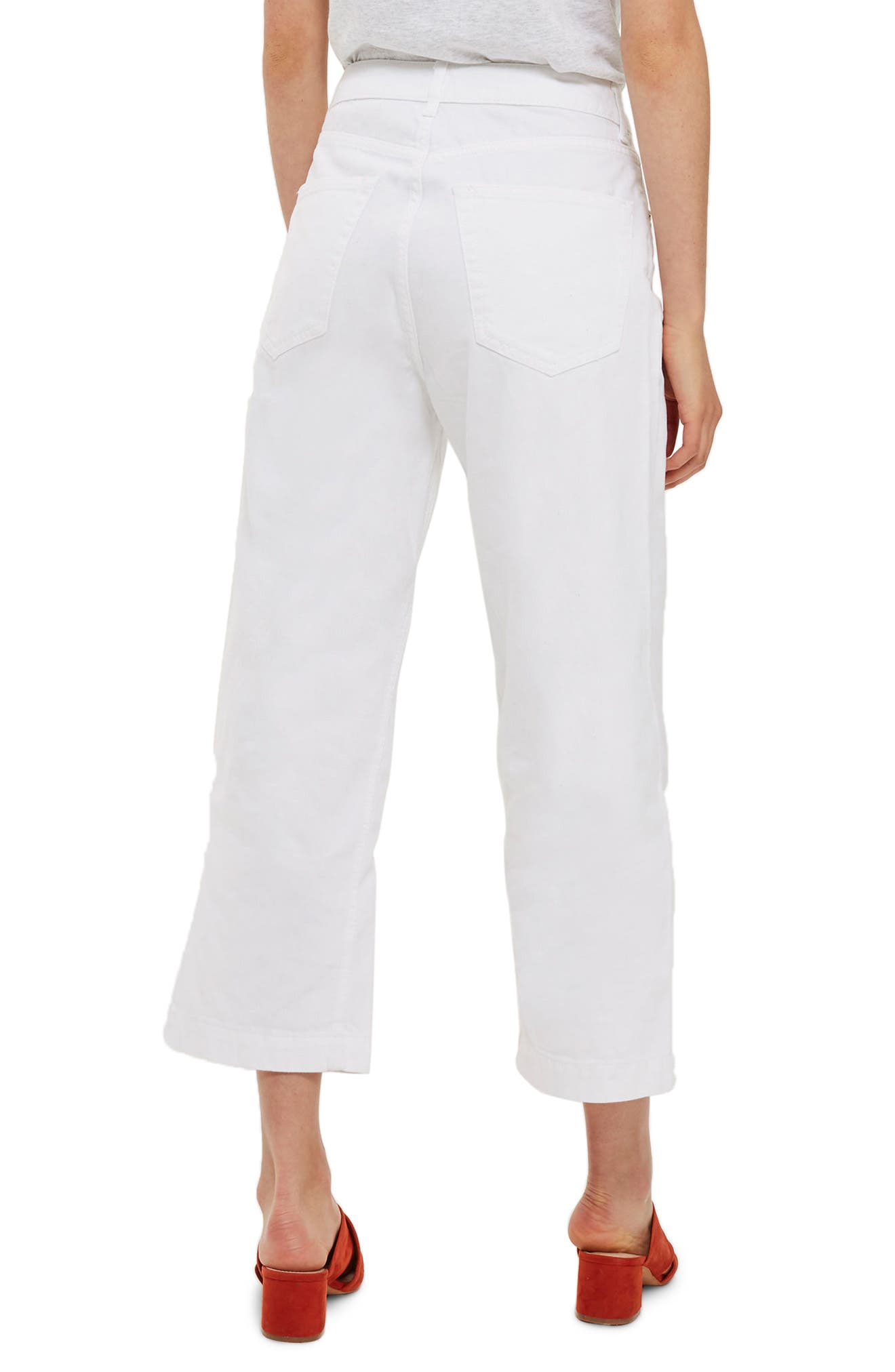 Cropped Wide Leg Jeans,                             Alternate thumbnail 3, color,                             White