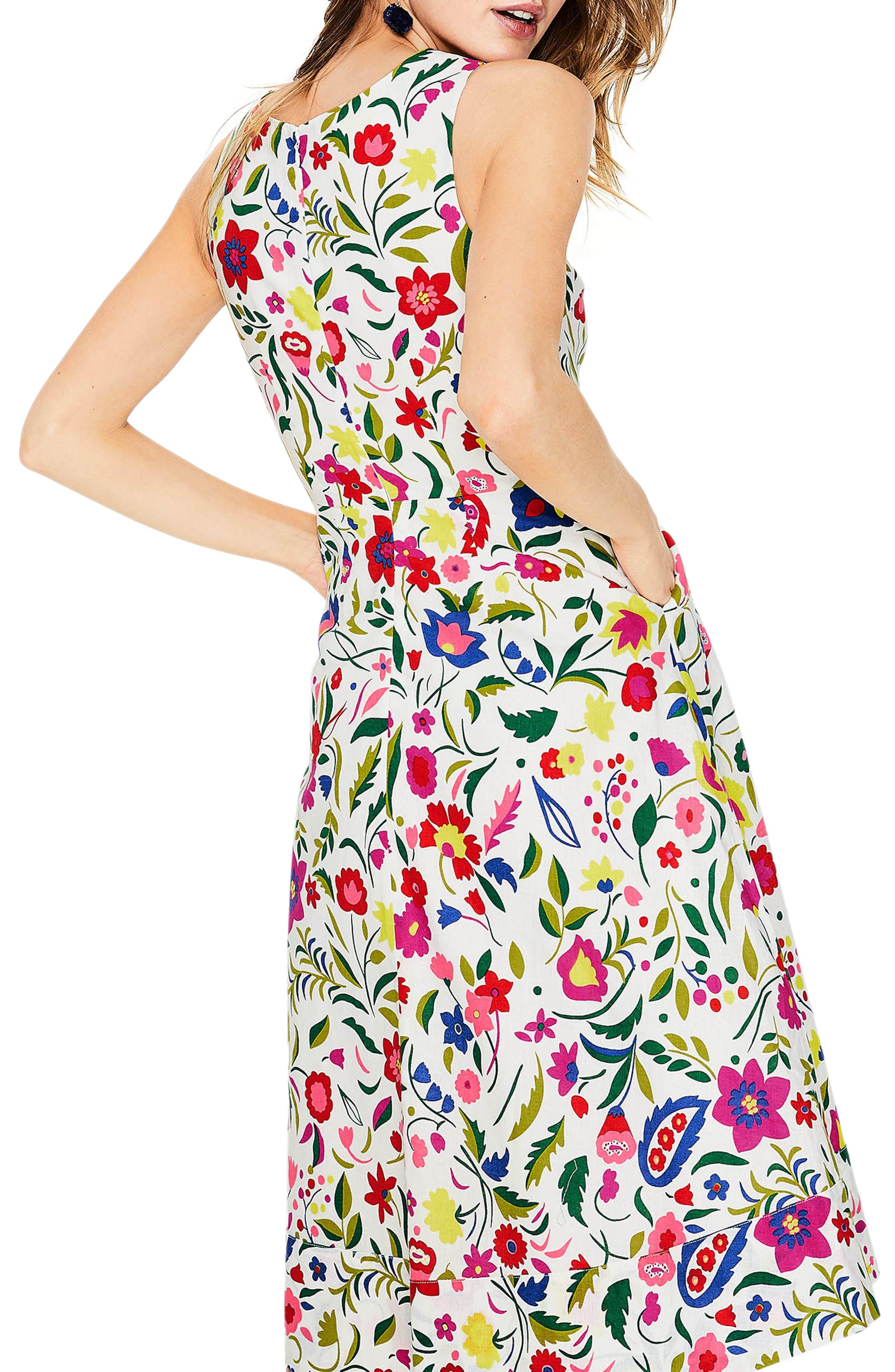 Jade Fit & Flare Linen Cotton Dress,                             Alternate thumbnail 3, color,                             Ivory Folk Pop