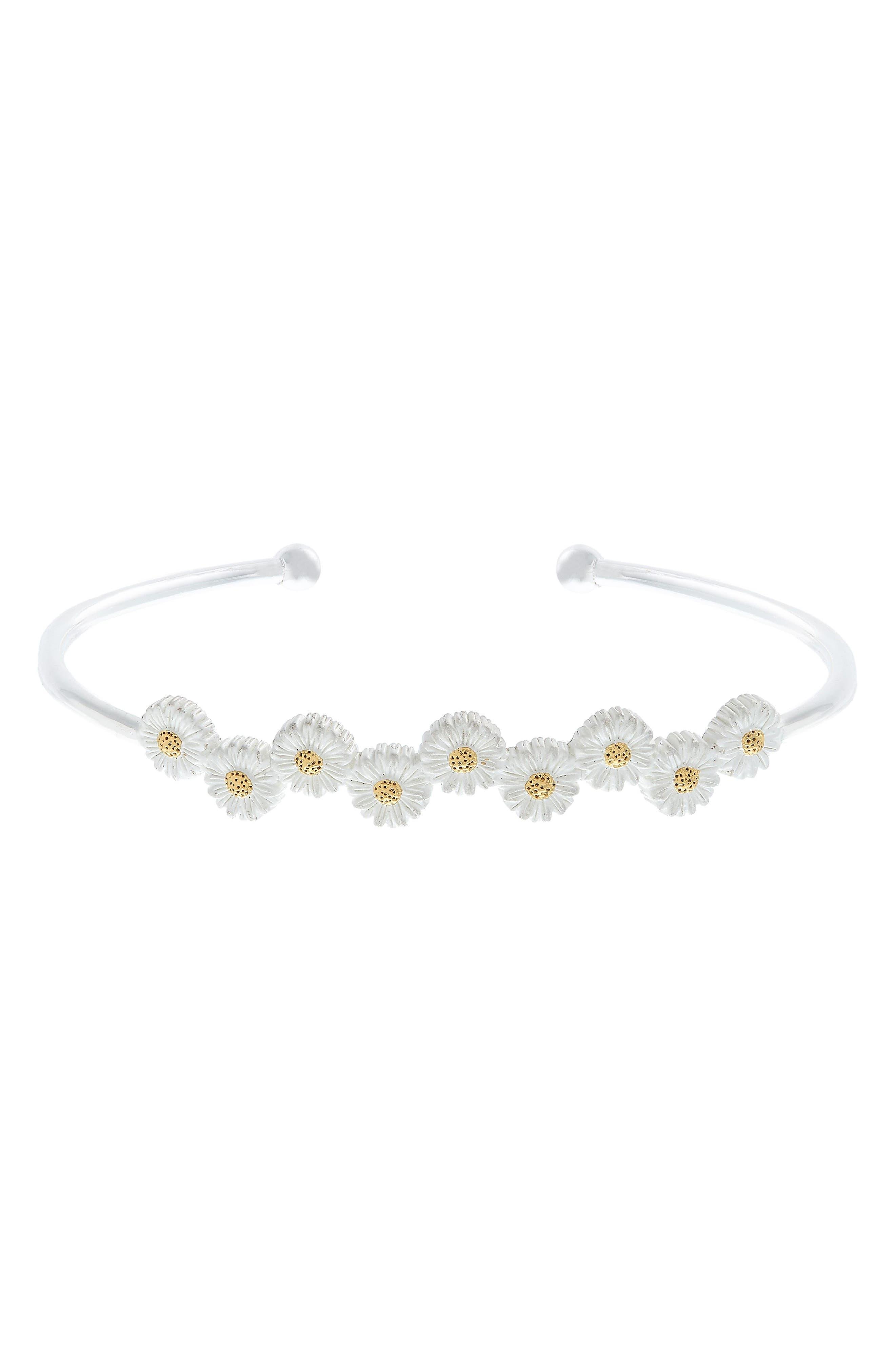 3D Daisy Open Bangle Bracelet,                         Main,                         color, Two Tone- Silver / Gold