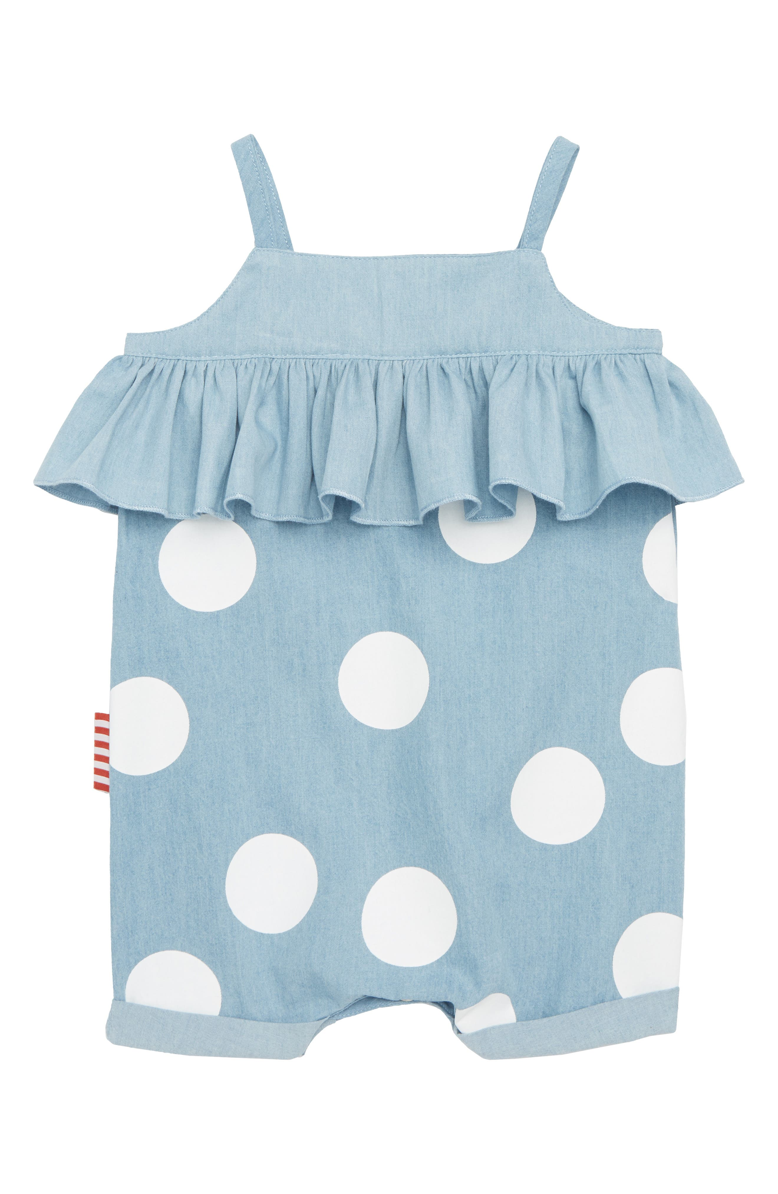 Alternate Image 1 Selected - SOOKIbaby Spotty Chambray Romper (Baby Girls)