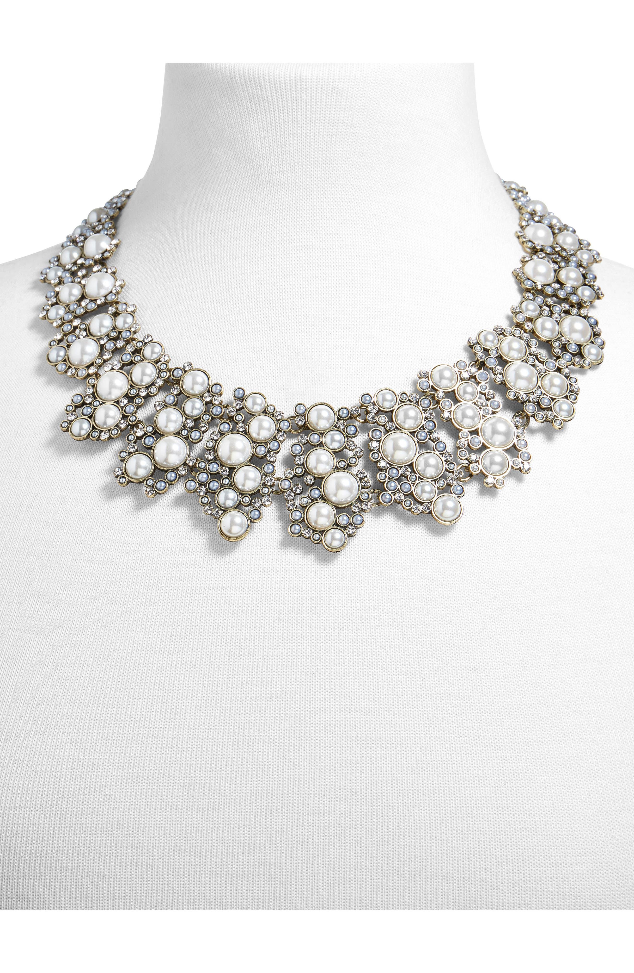 Julianna Statement Collar Necklace,                             Alternate thumbnail 2, color,                             White