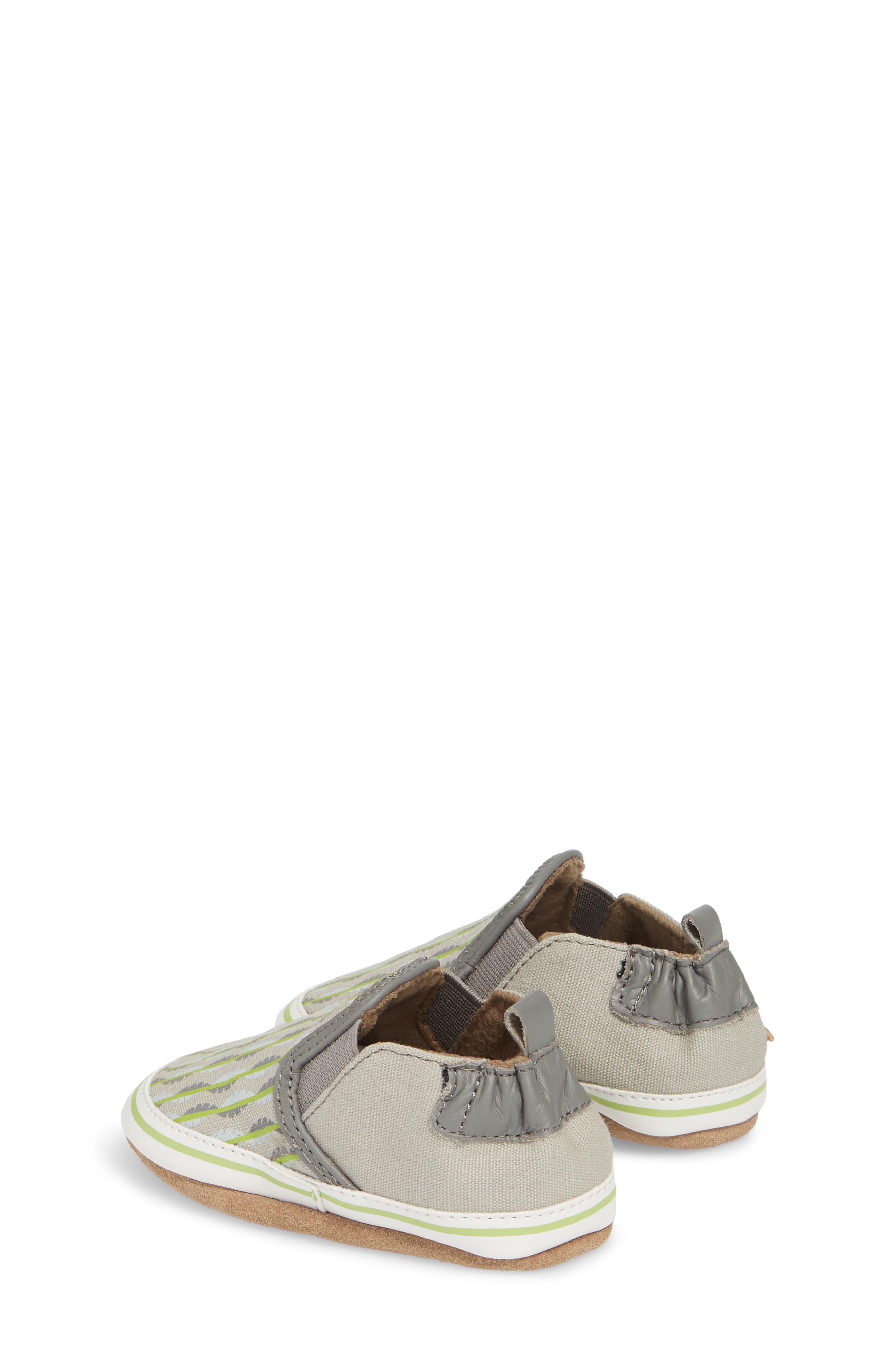 Liam Tropical Print Crib Shoe,                             Alternate thumbnail 2, color,                             Grey