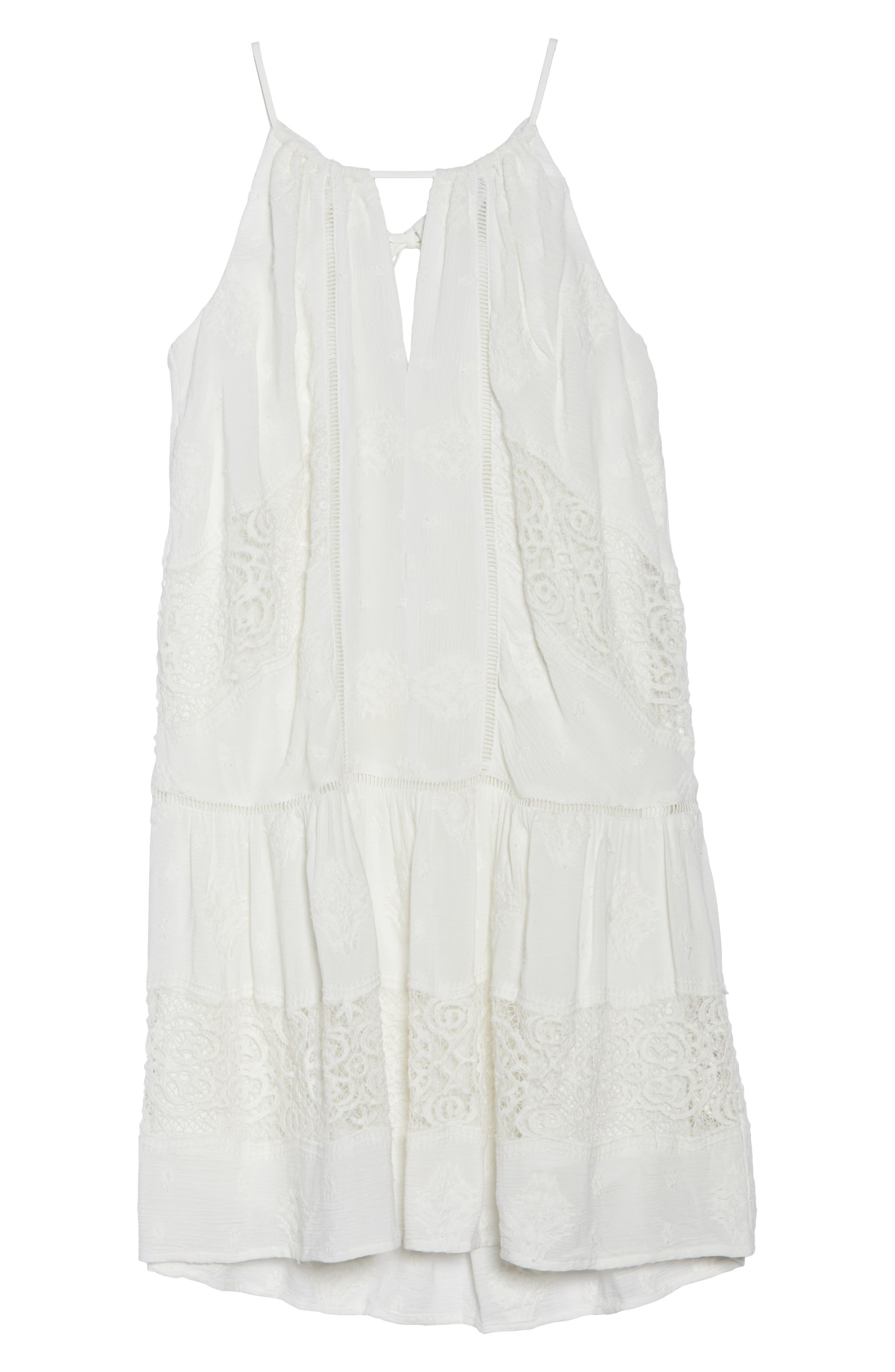 Lace Trim Keyhole Minidress,                             Alternate thumbnail 7, color,                             Ivory