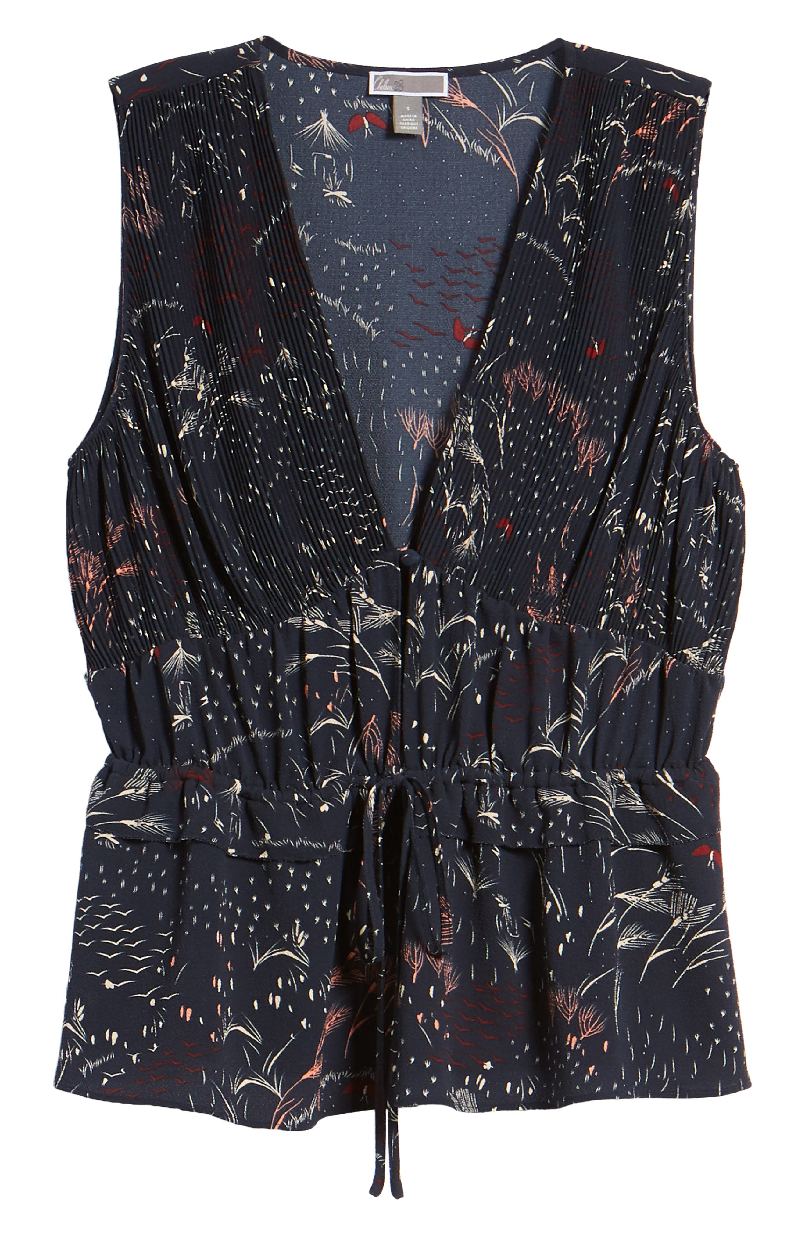 Pleated Tank,                             Alternate thumbnail 7, color,                             Navy Blazer Feather Grass