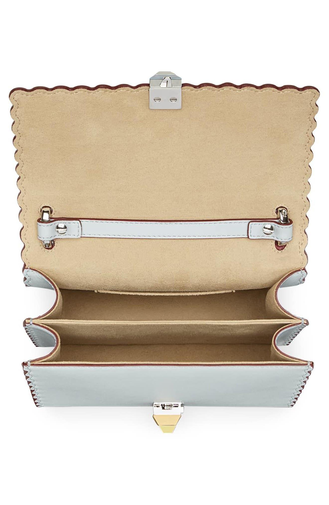 Mini Kan I Scalloped Leather Shoulder Bag,                             Alternate thumbnail 3, color,                             Grigio Perla/ Palladio
