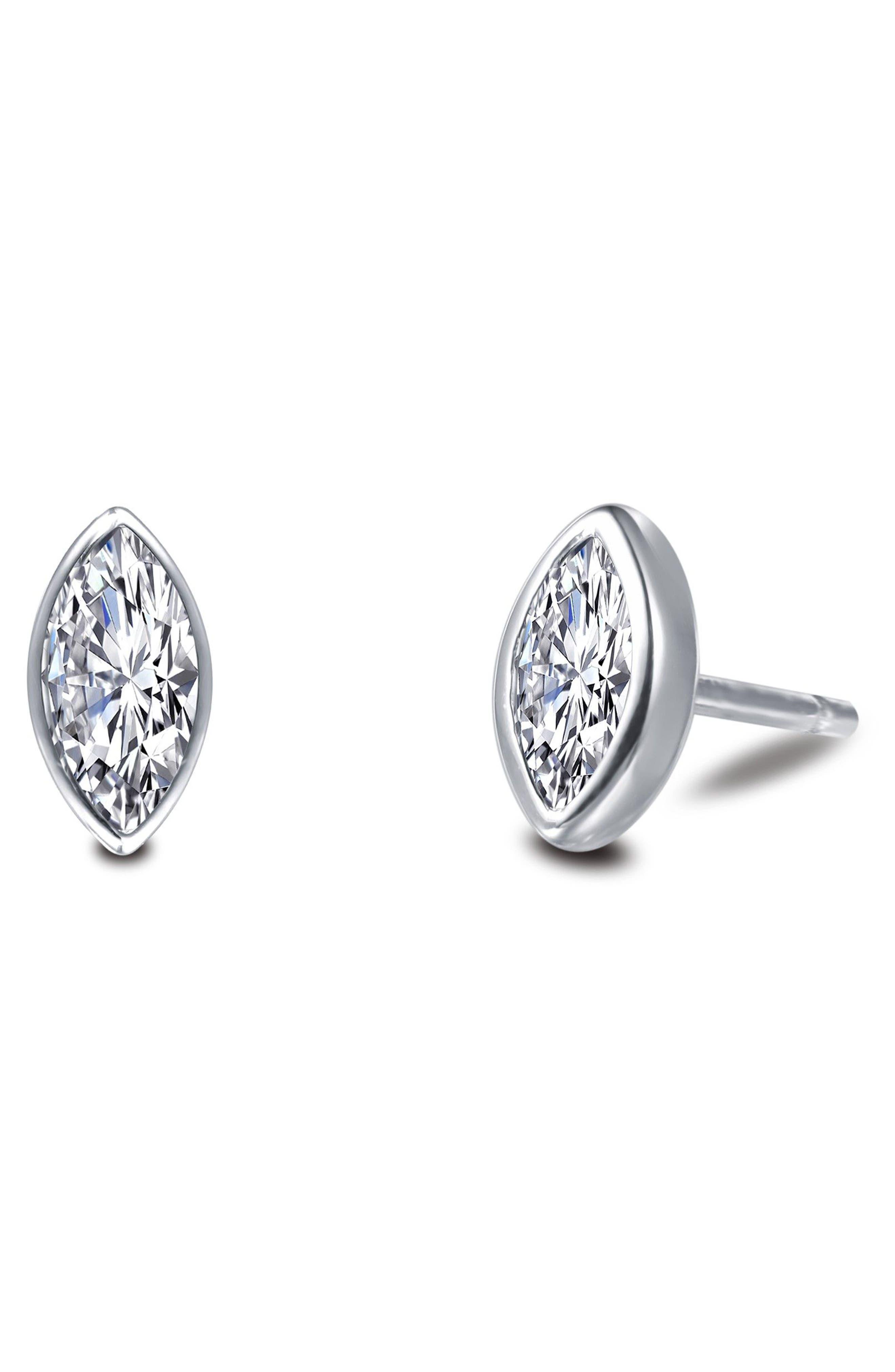Bezel-Set Marquise-Cut Stud Earrings,                             Alternate thumbnail 3, color,