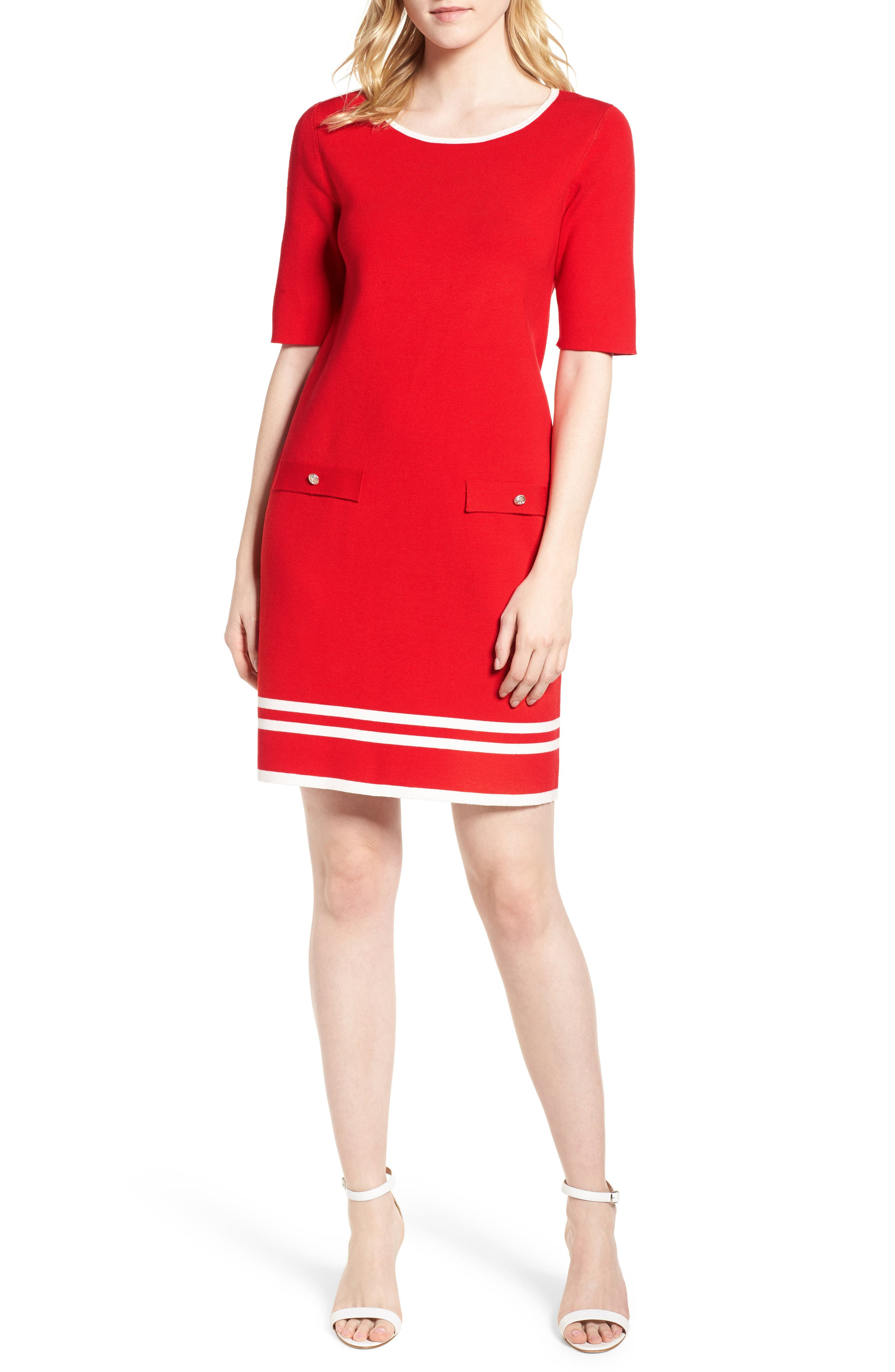 Ann Klein New York Stripe Border Knit Sheath Dress