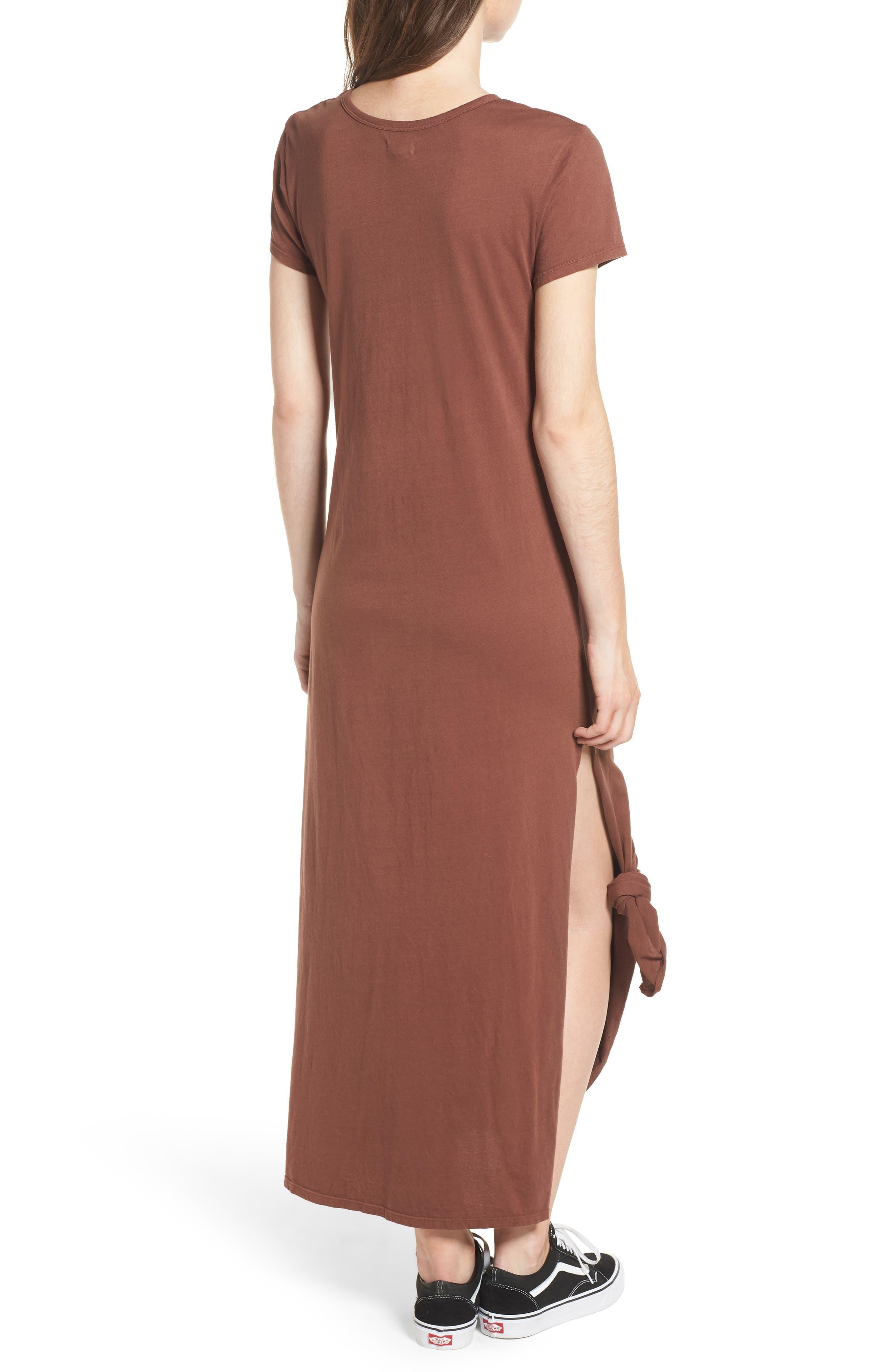 Alana Side Slit T-Shirt Dress,                             Alternate thumbnail 2, color,                             Nutmeg