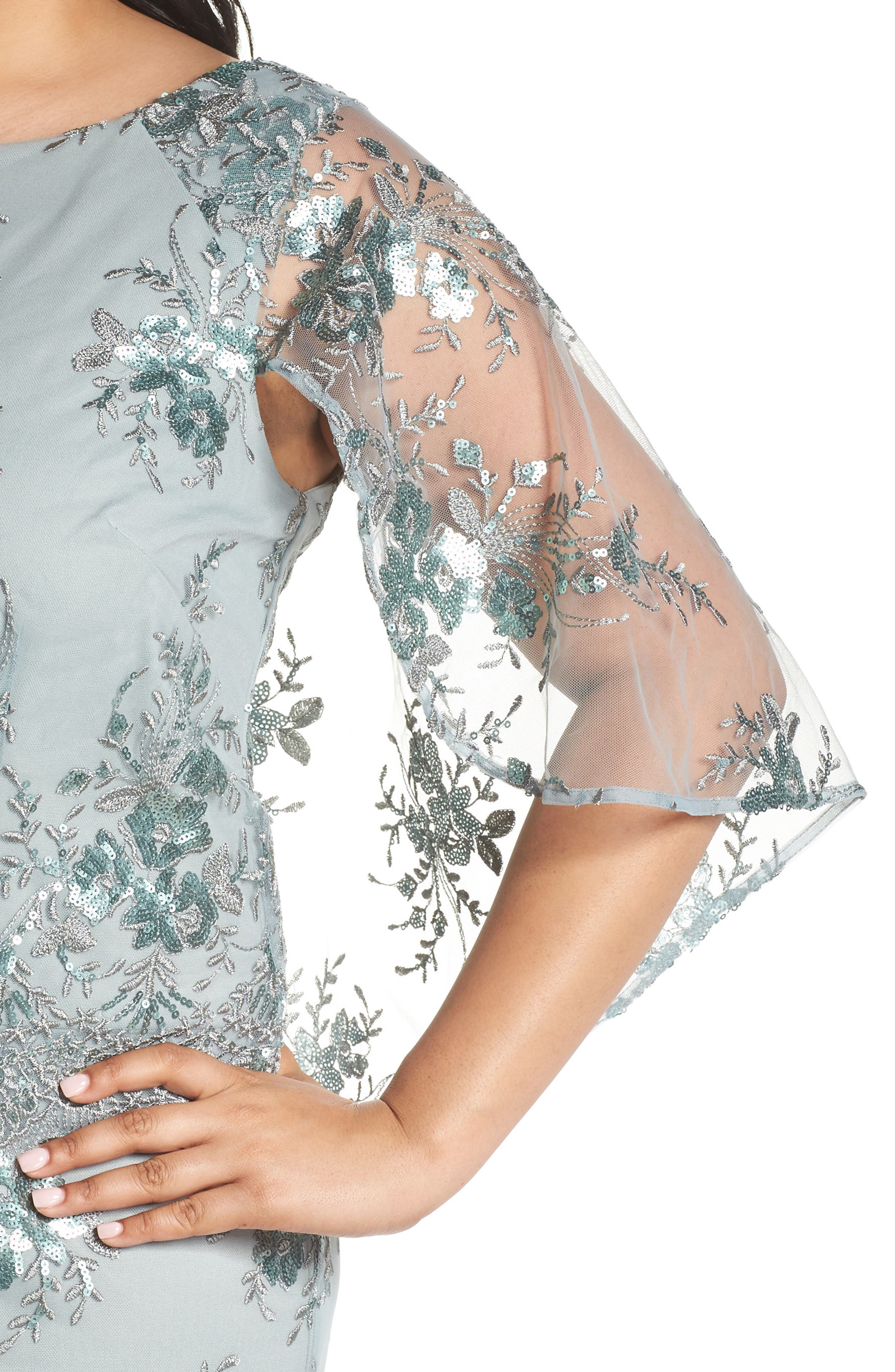 Embellished Capelet Mesh Gown,                             Alternate thumbnail 4, color,                             Seafoam