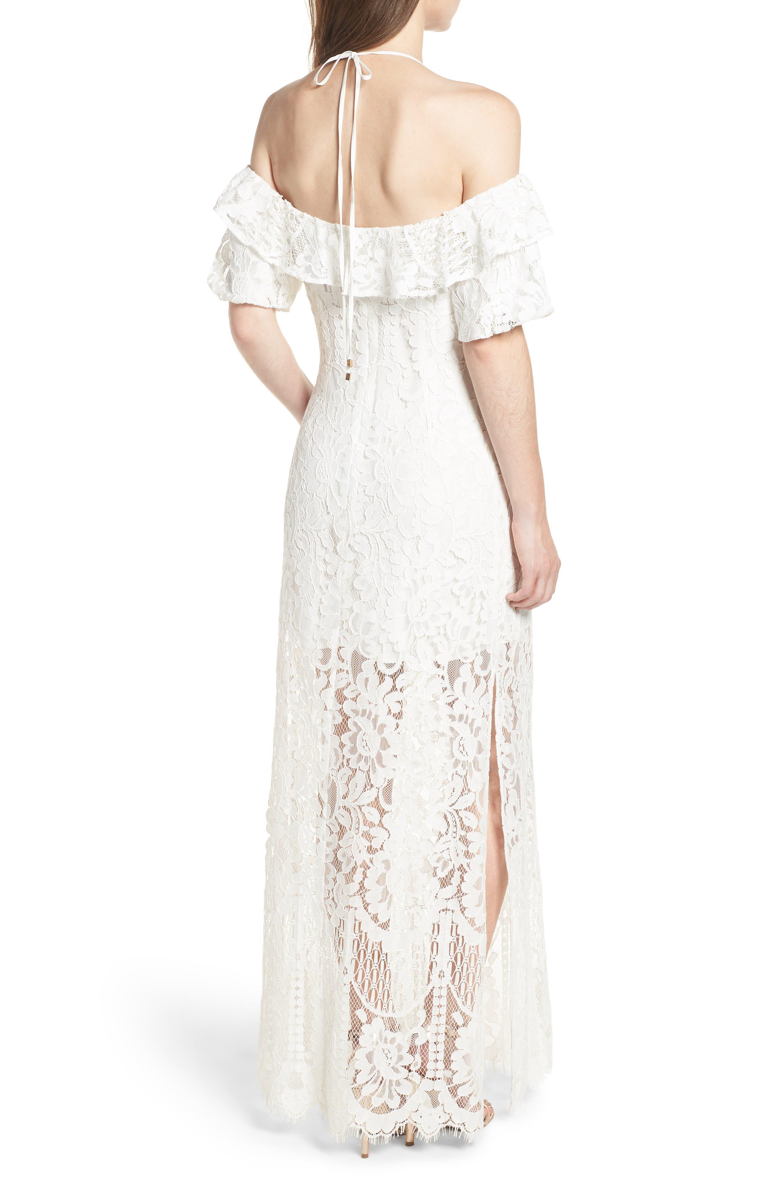 Tasha Off the Shoulder Halter Maxi Dress,                             Alternate thumbnail 2, color,                             Ivory