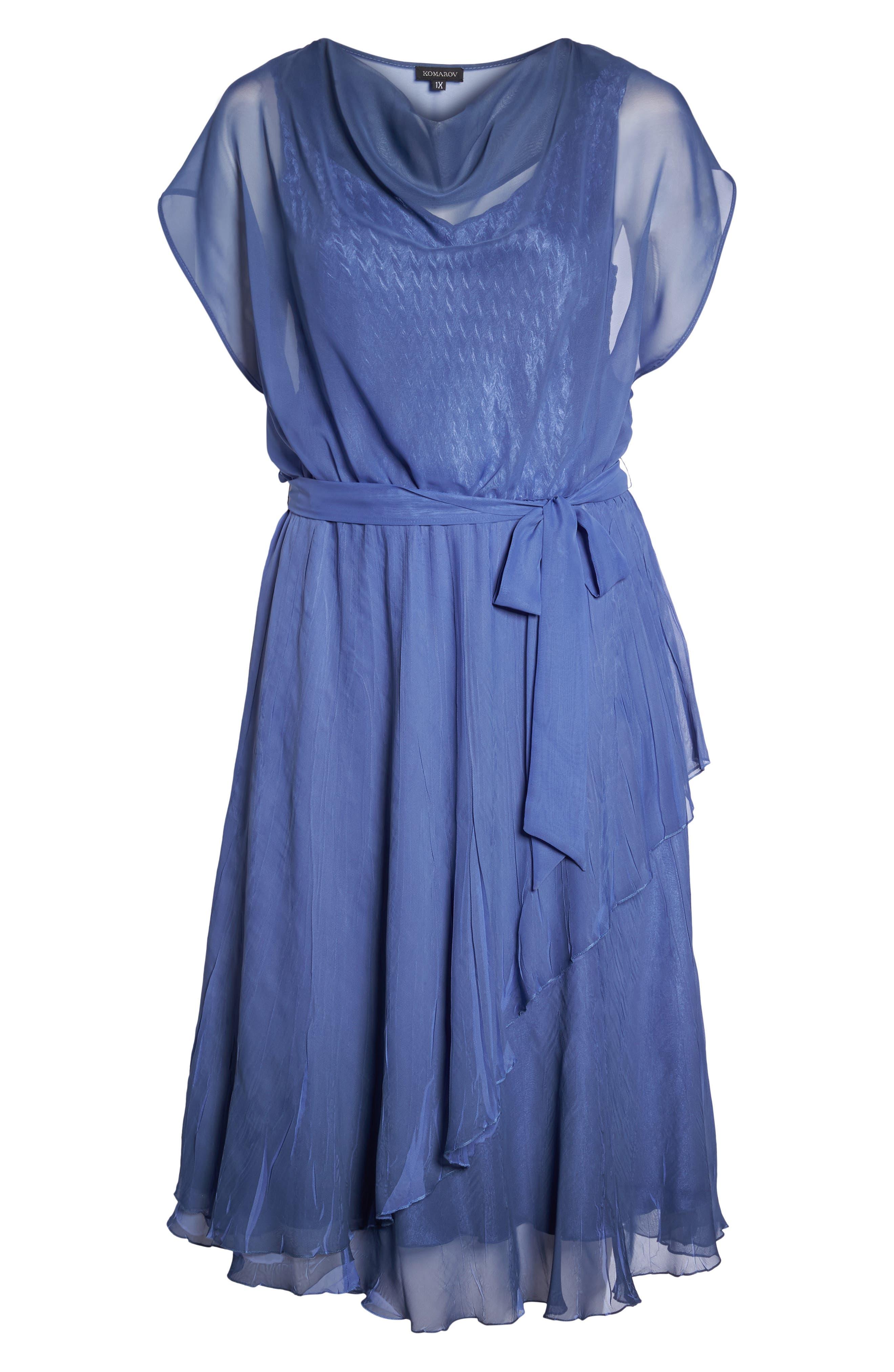 Charmeuse & Chiffon Blouson Dress,                             Alternate thumbnail 7, color,                             Fregatta Blue Ombre