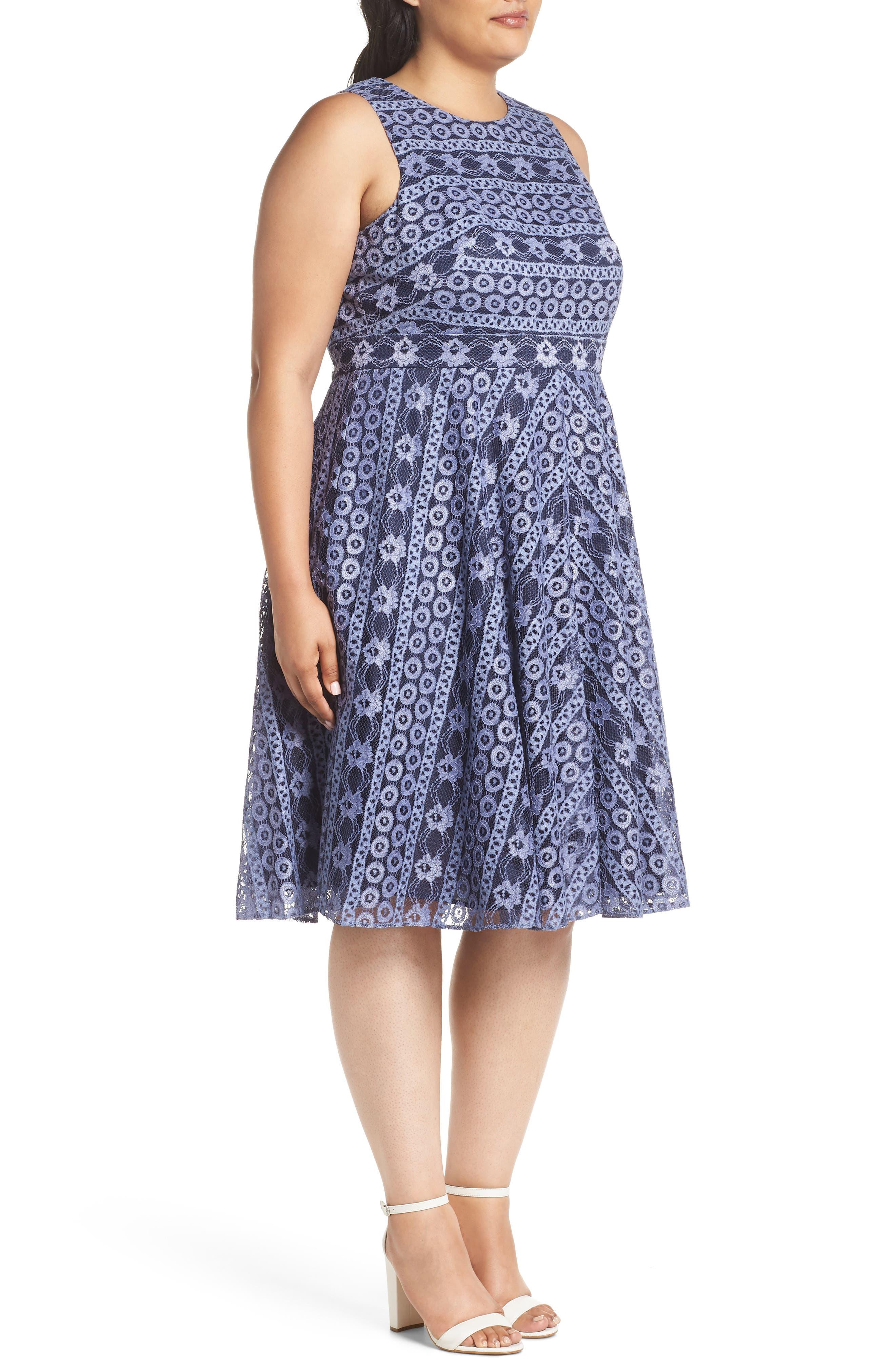 Stripe Lace A-Line Dress,                             Alternate thumbnail 3, color,                             Navy