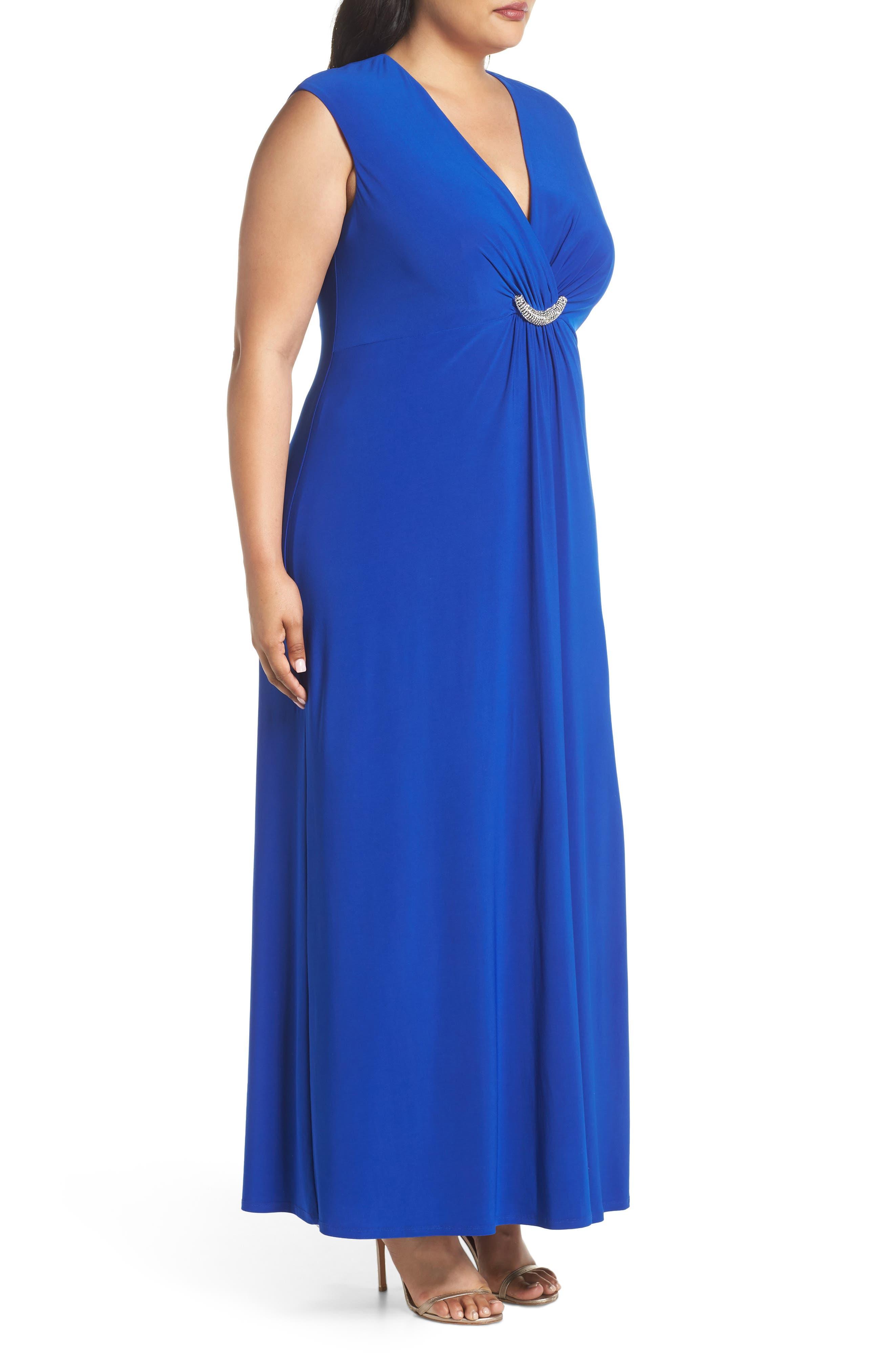 Embellished Surplice Dress,                             Alternate thumbnail 3, color,                             Cobalt