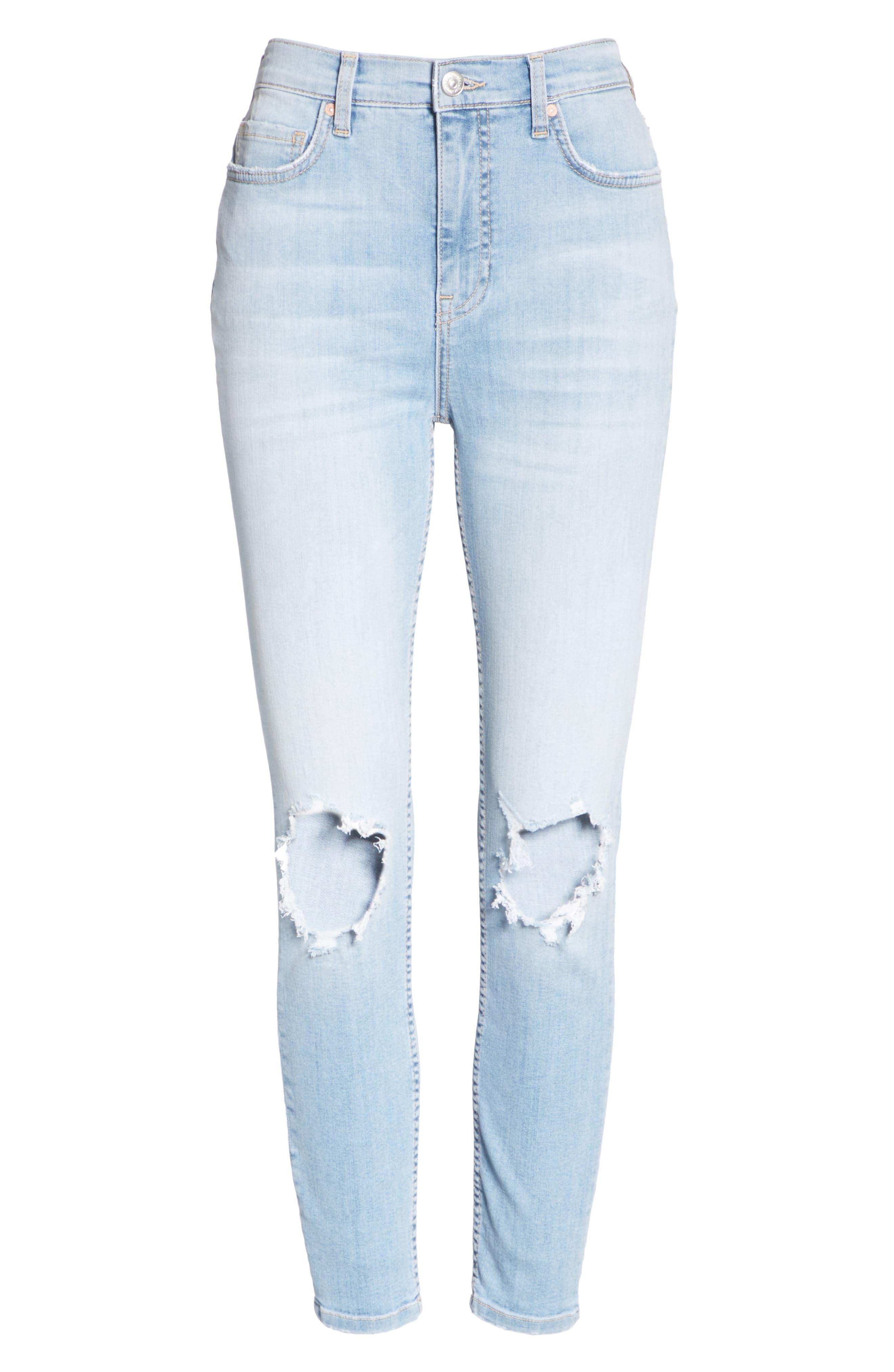High Waist Ankle Skinny Jeans,                             Alternate thumbnail 7, color,                             Sky