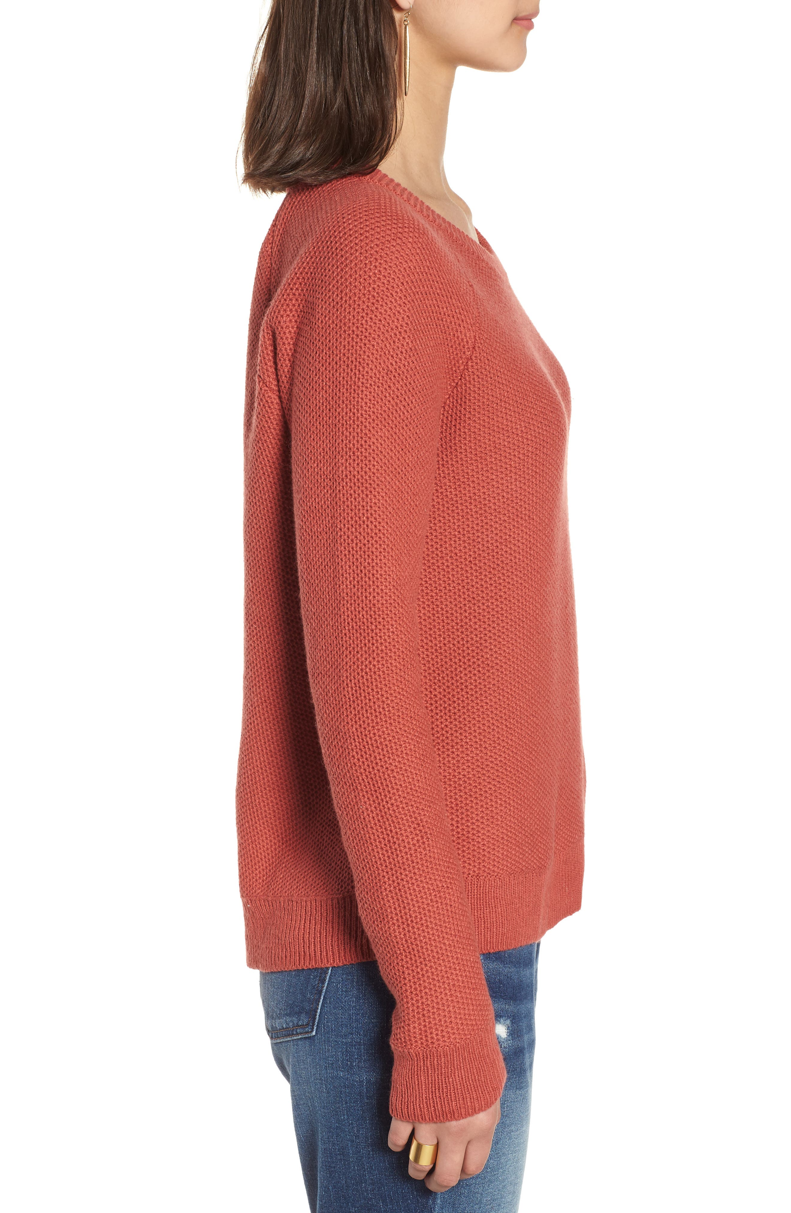 Province Cross Back Knit Pullover,                             Alternate thumbnail 3, color,                             Spiced Rose
