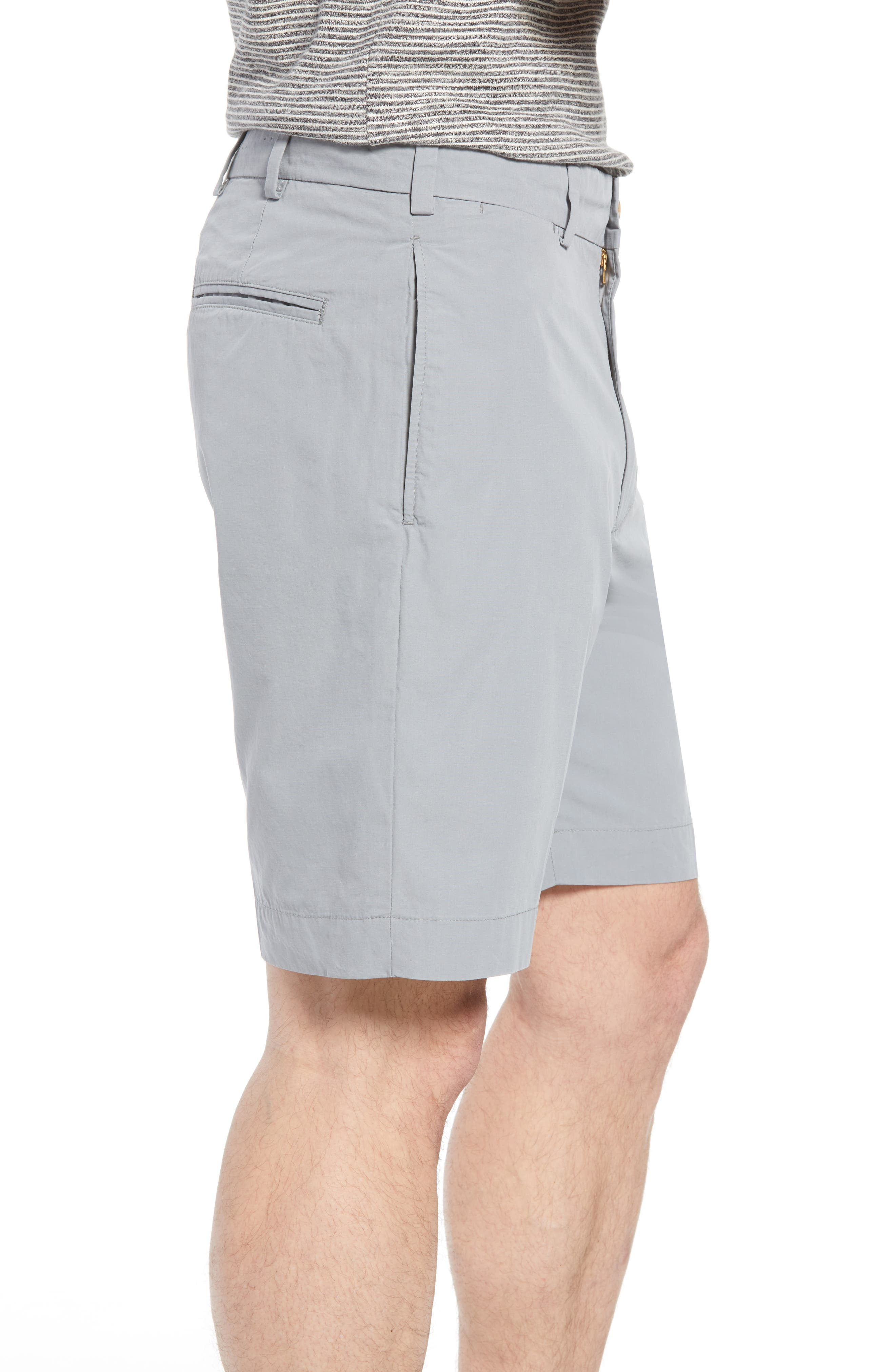 M2 Classic Fit Flat Front Tropical Cotton Poplin Shorts,                             Alternate thumbnail 3, color,                             Nickel