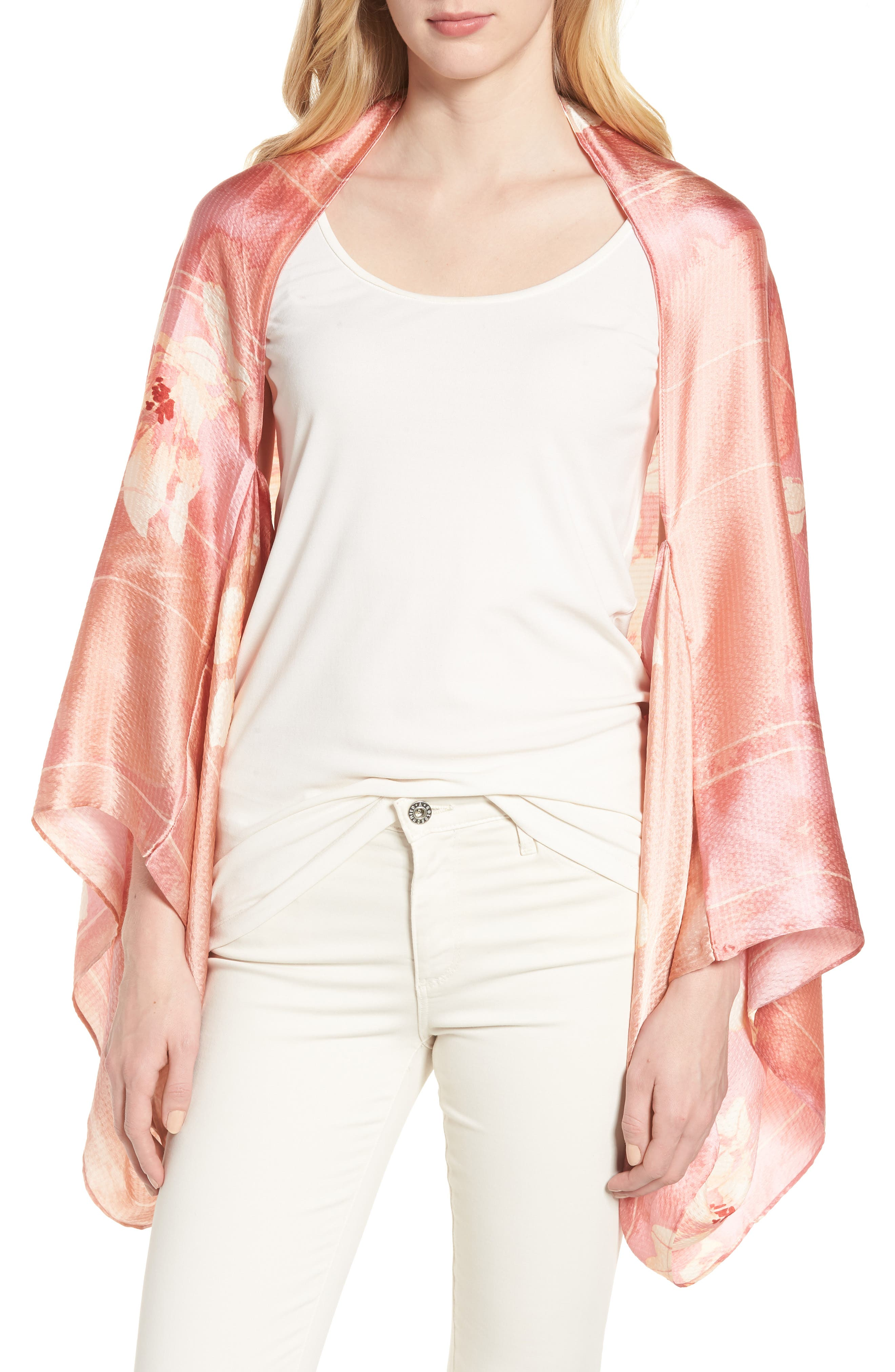 Silk Shrug Kimono,                         Main,                         color, Pink Jardin Secret