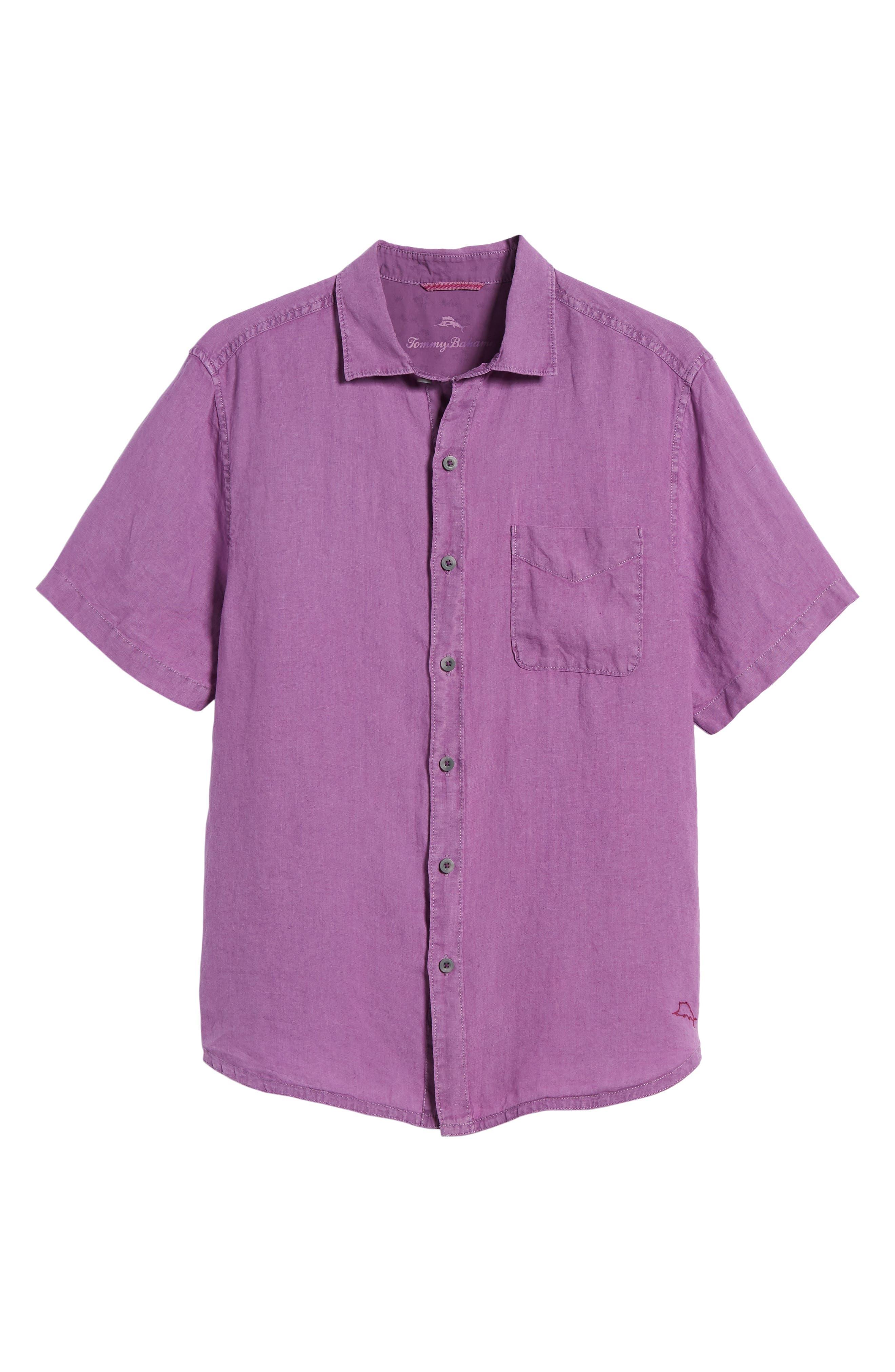 Seaspray Breezer Regular Fit Linen Sport Shirt,                             Alternate thumbnail 6, color,                             Sparkling Grape