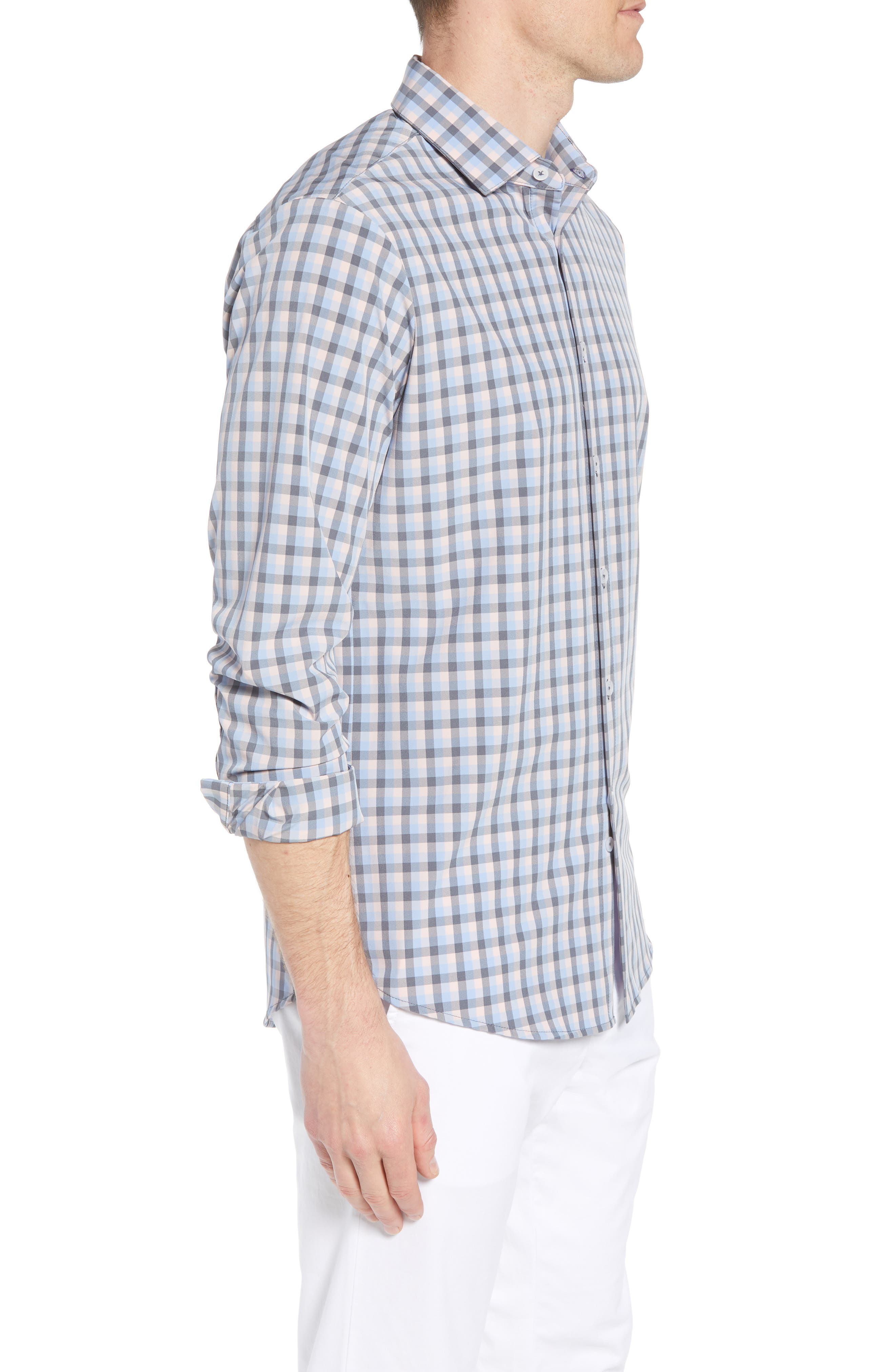 Briscoe Slim Fit Check Performance Sport Shirt,                             Alternate thumbnail 4, color,                             Pink