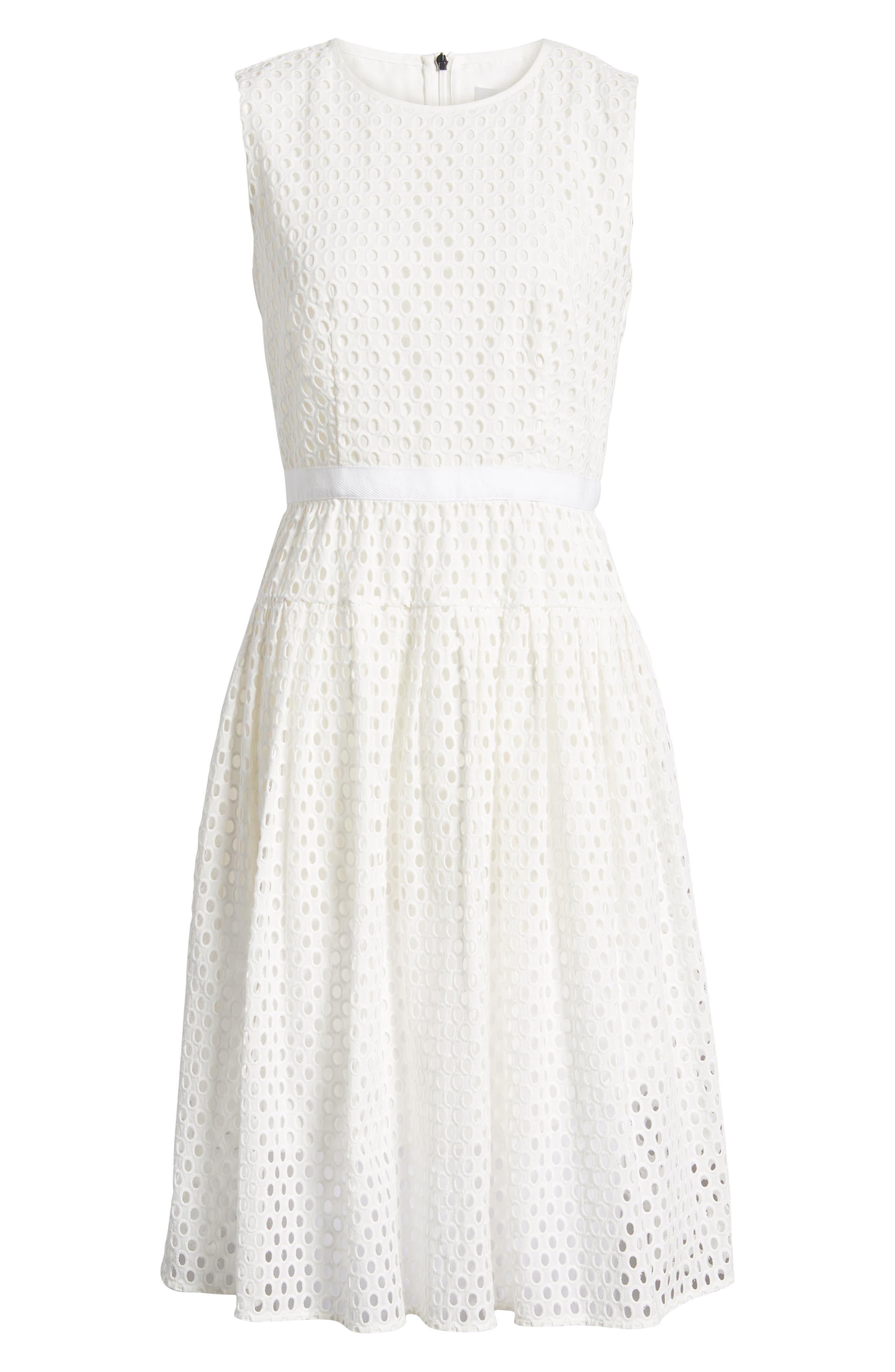 Dafalia Cotton Eyelet Dress,                             Alternate thumbnail 7, color,                             Vanilla Light
