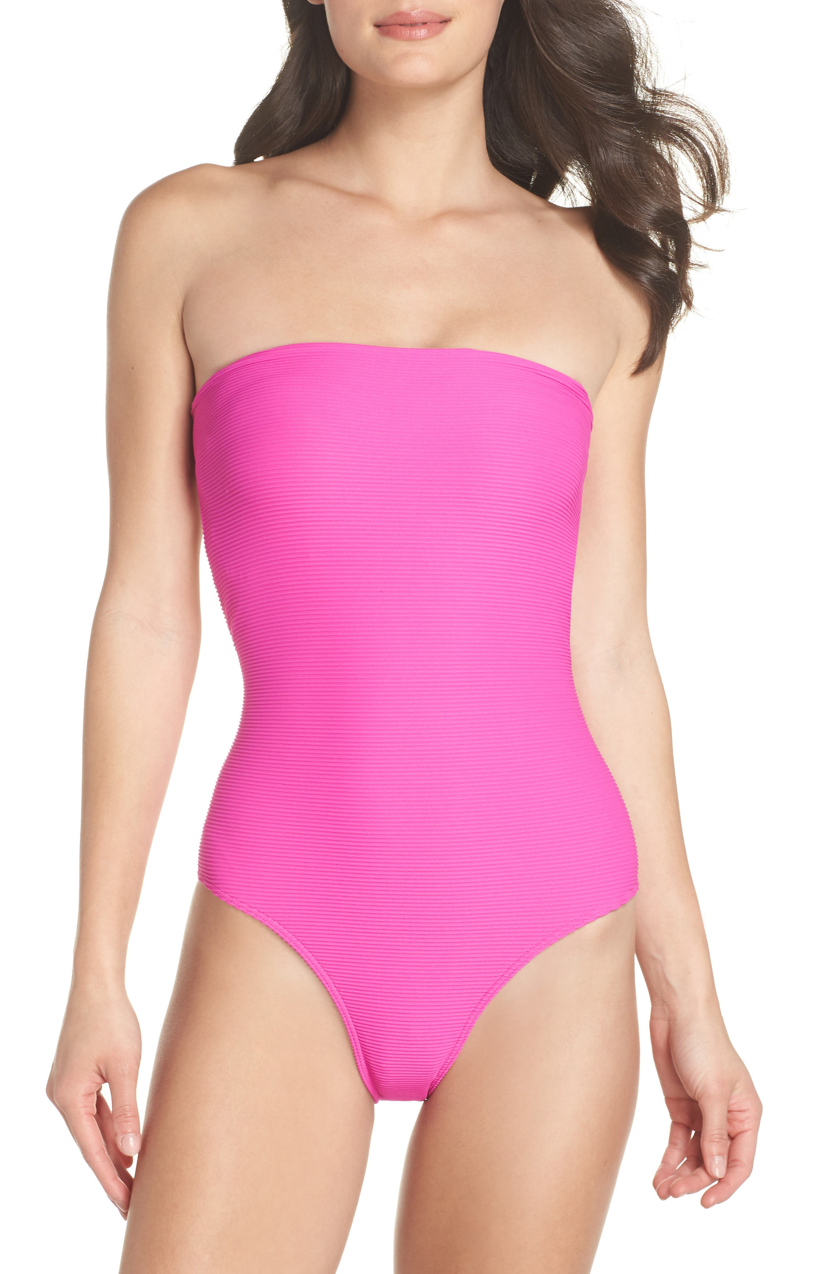 Tanlines Strapless One-Piece Swimsuit,                         Main,                         color, Rebel Pink