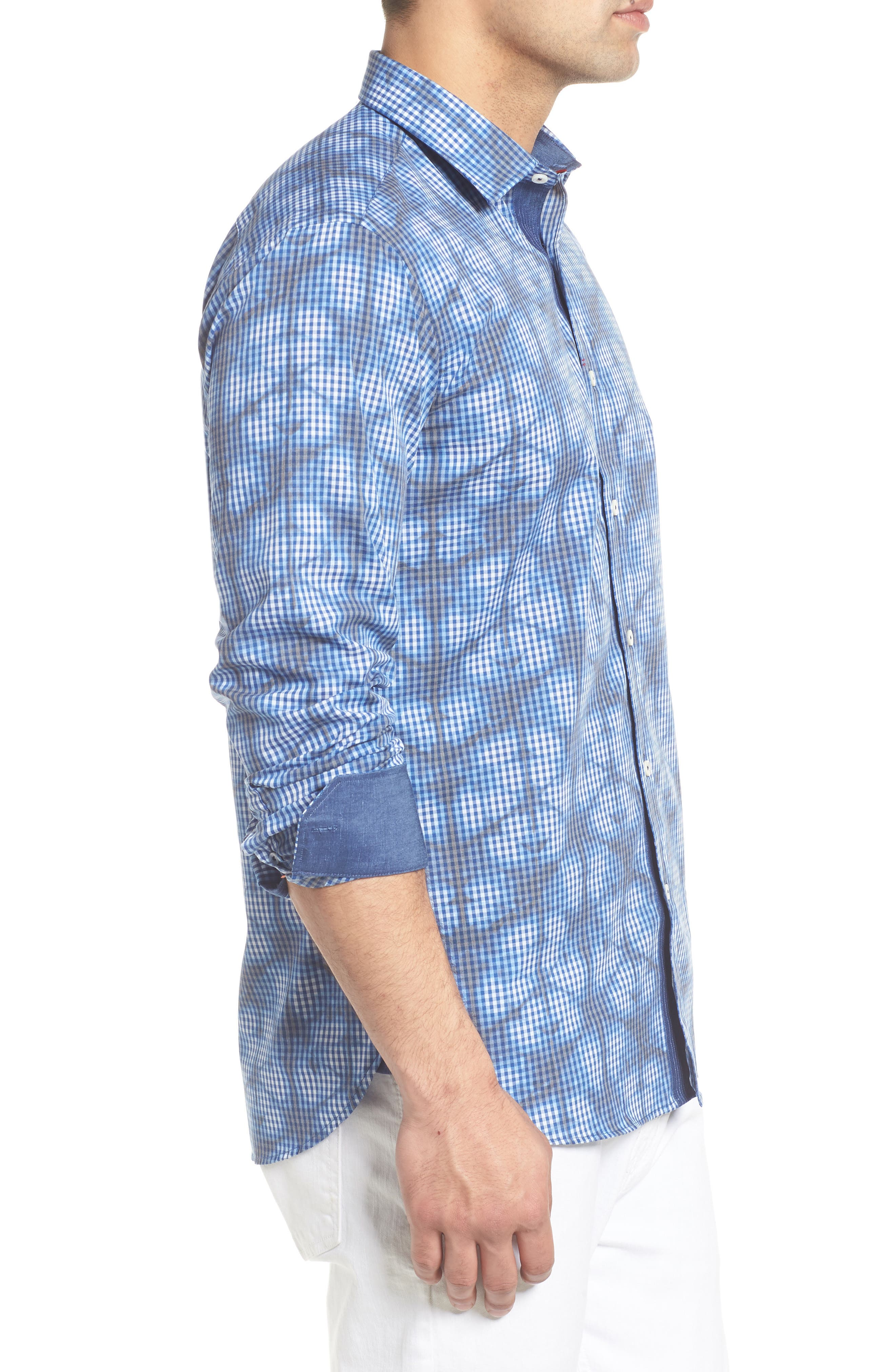 Shaped Fit Abstract Print Sport Shirt,                             Alternate thumbnail 4, color,                             Navy