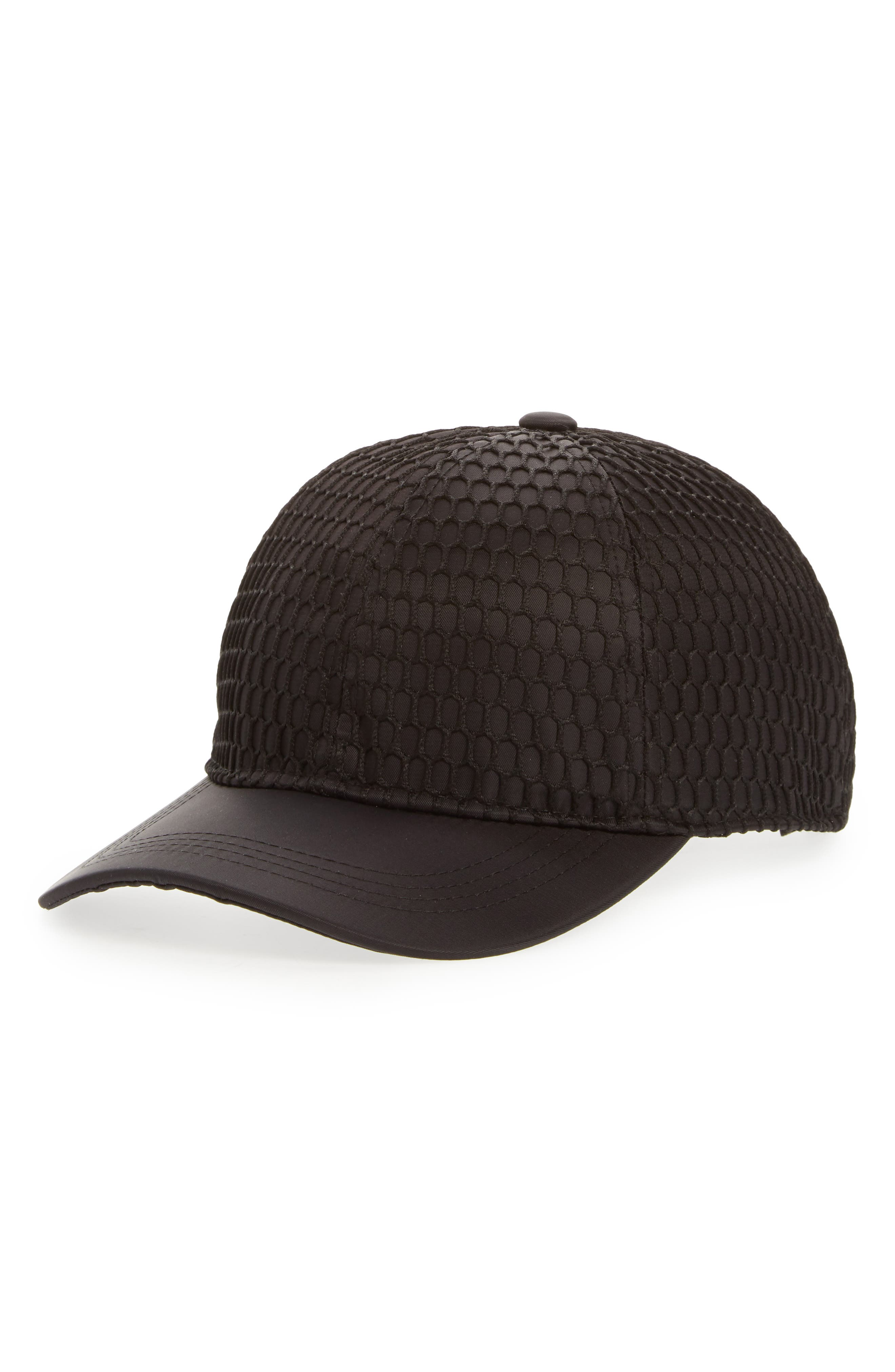 Mesh Crown Baseball Cap,                             Main thumbnail 1, color,                             Black