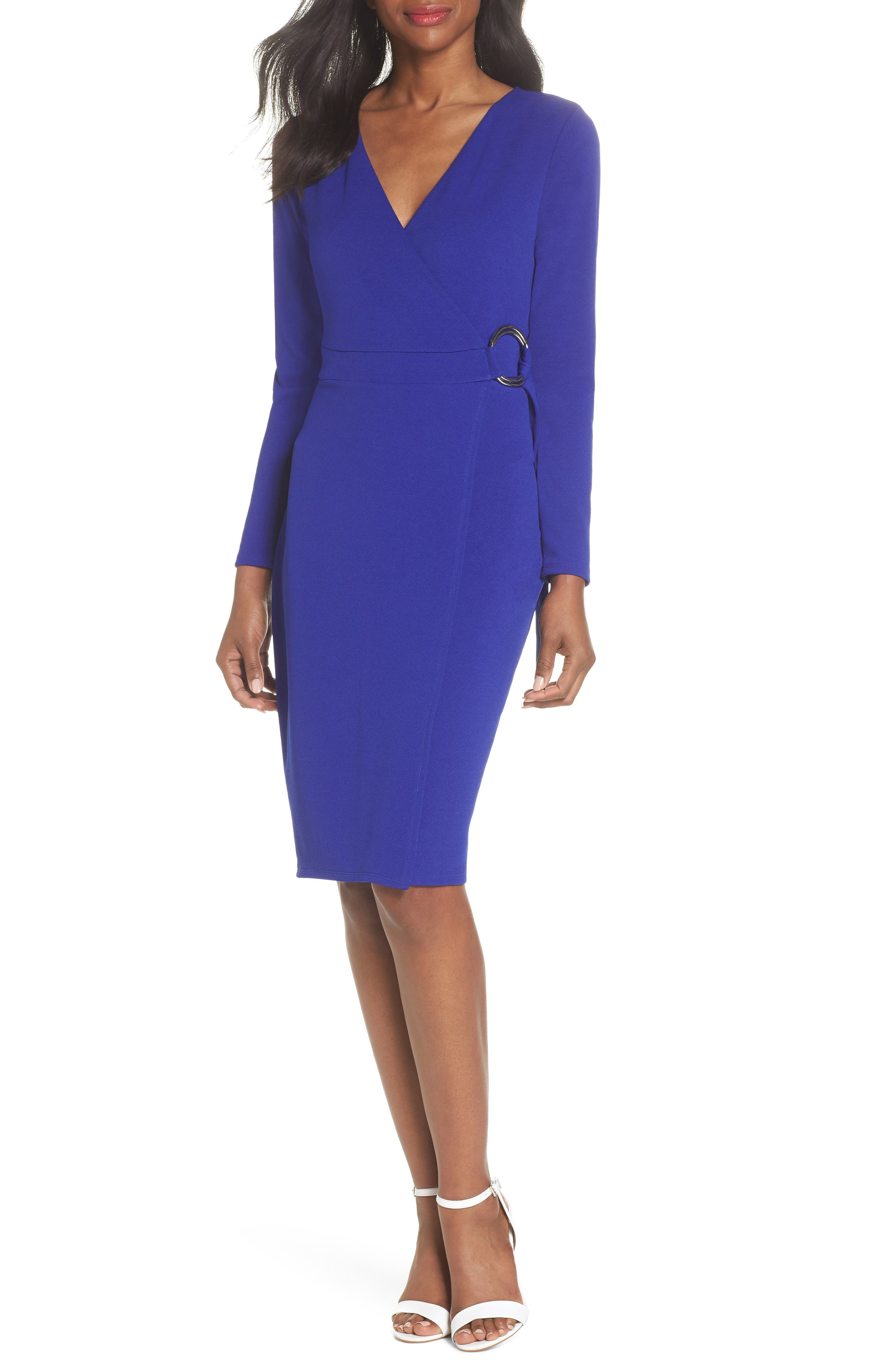 Ring Tie Wrap Dress,                             Main thumbnail 1, color,                             Cobalt