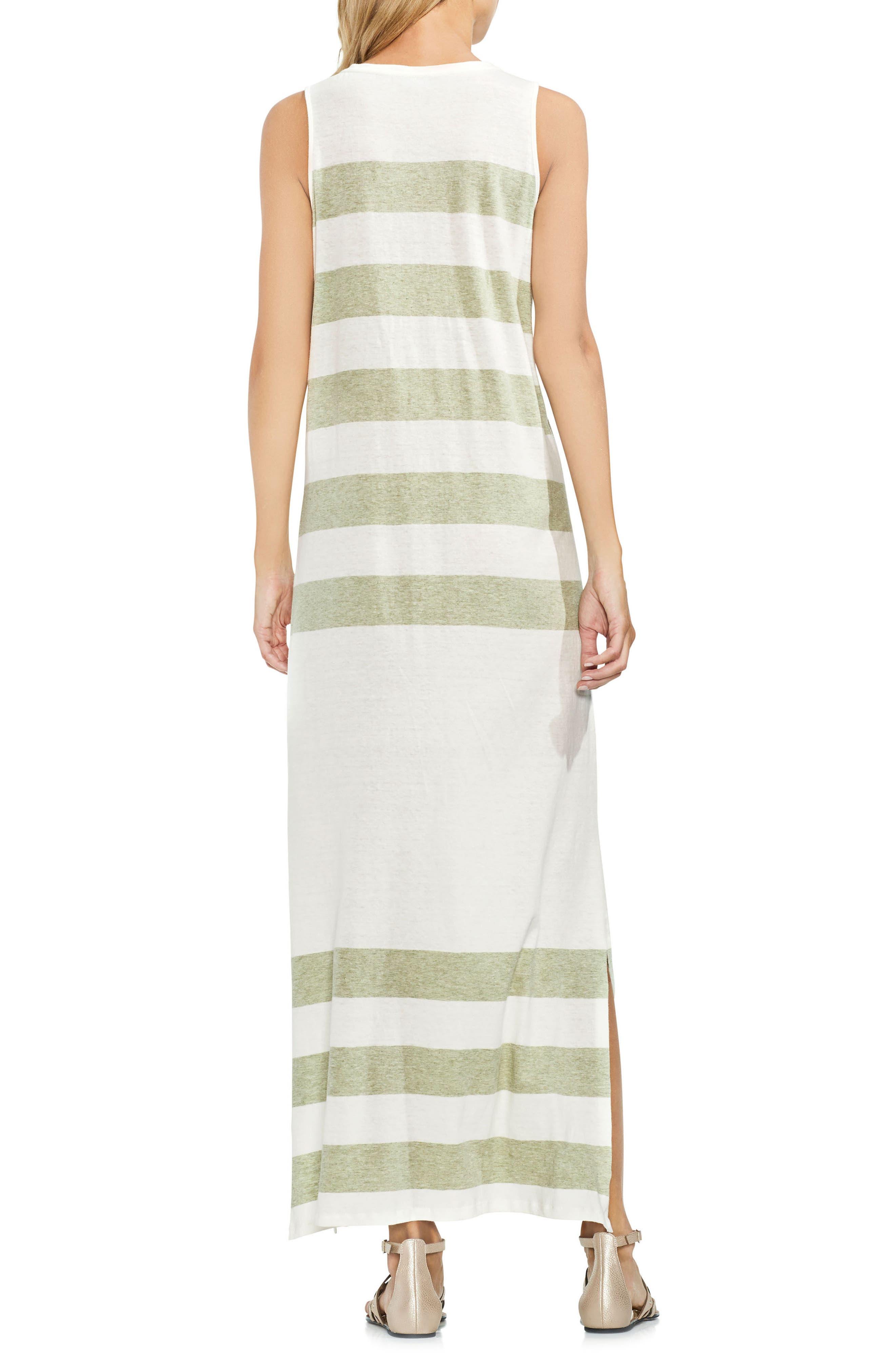 Striped Maxi Dress,                             Alternate thumbnail 2, color,                             Sage Heather