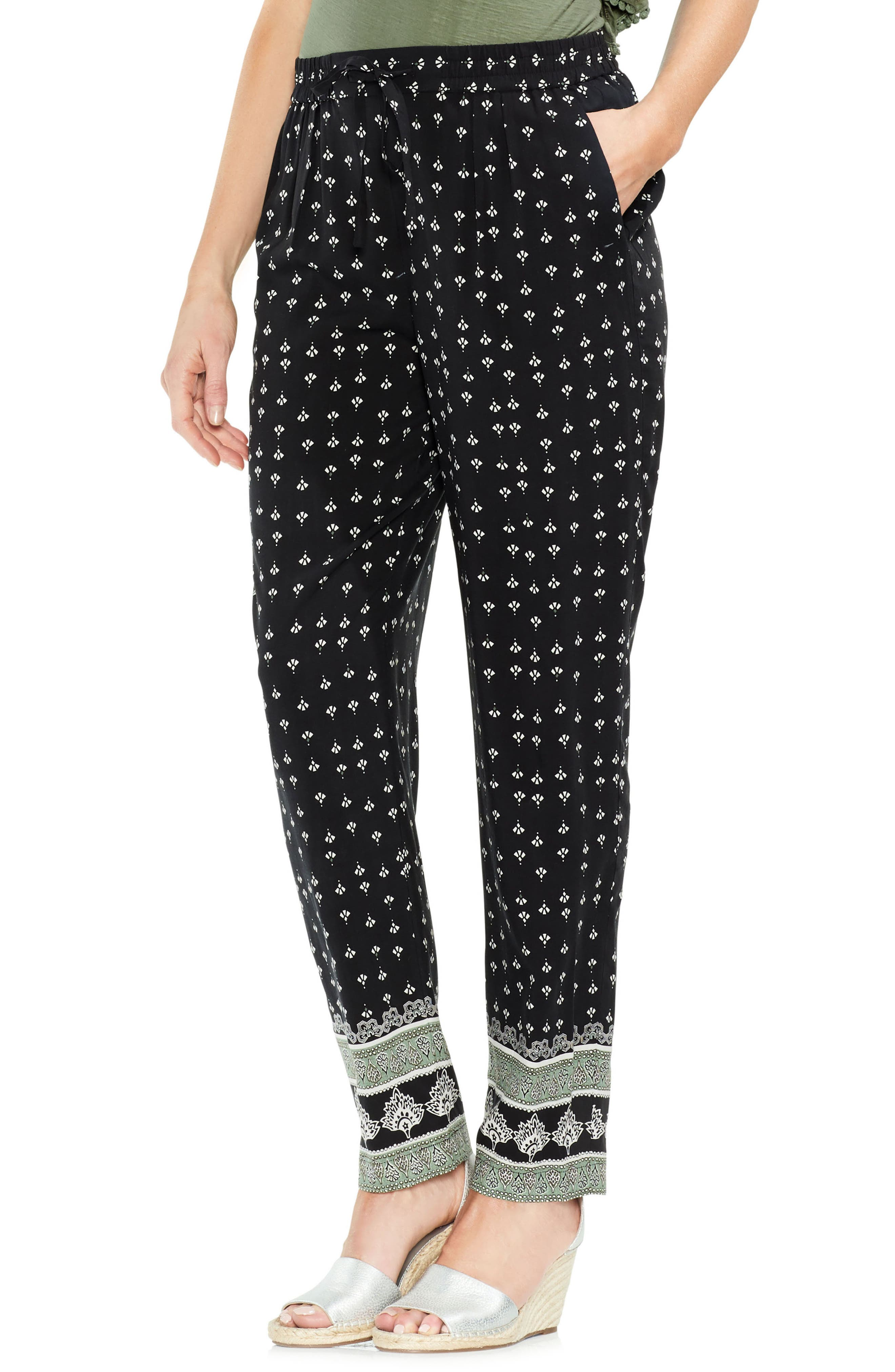 Fan Print Pants,                         Main,                         color, Rich Black