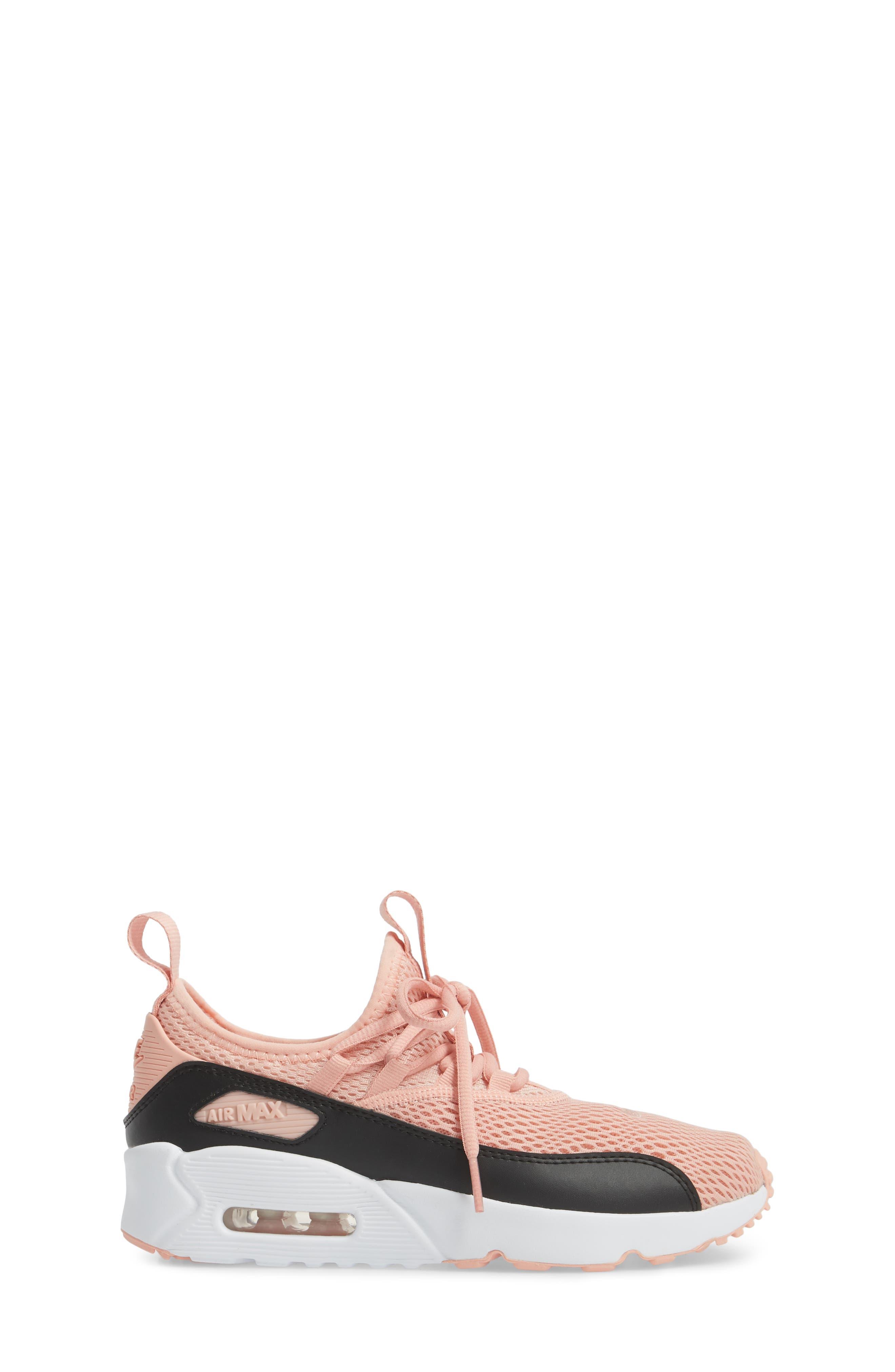 Air Max 90 EZ Sneaker,                             Alternate thumbnail 3, color,                             Coral Stardust/ Black
