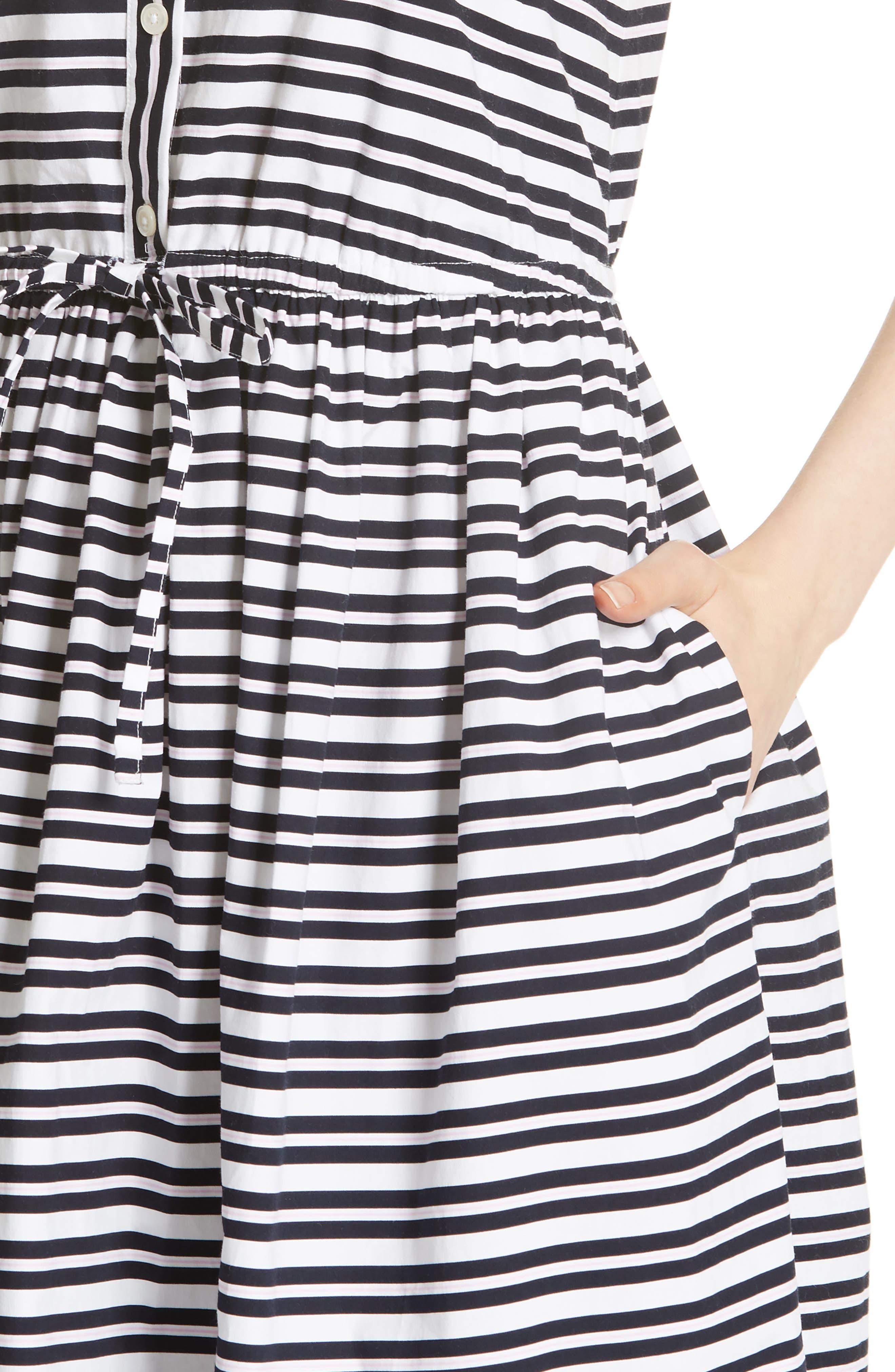 candy stripe stretch cotton shirtdress,                             Alternate thumbnail 4, color,                             Rich Navy