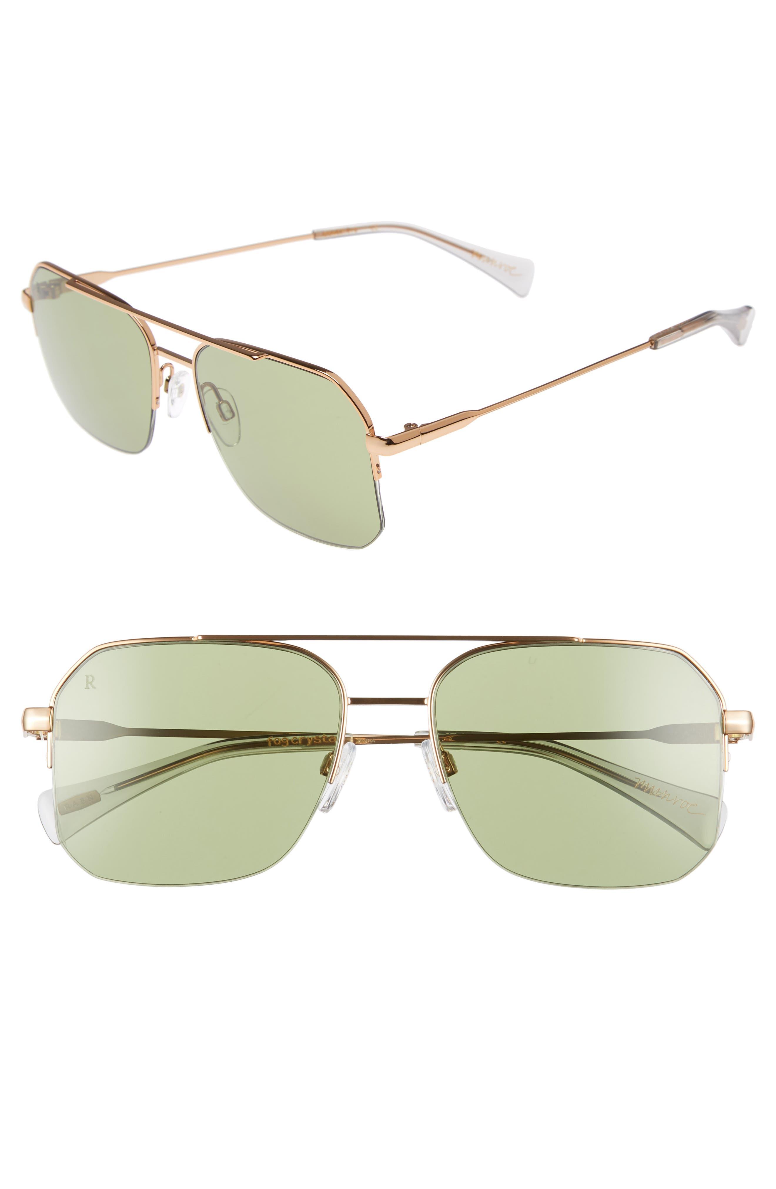 RAEN Munroe 55Mm Square Aviator Sunglasses - Fog Crystal